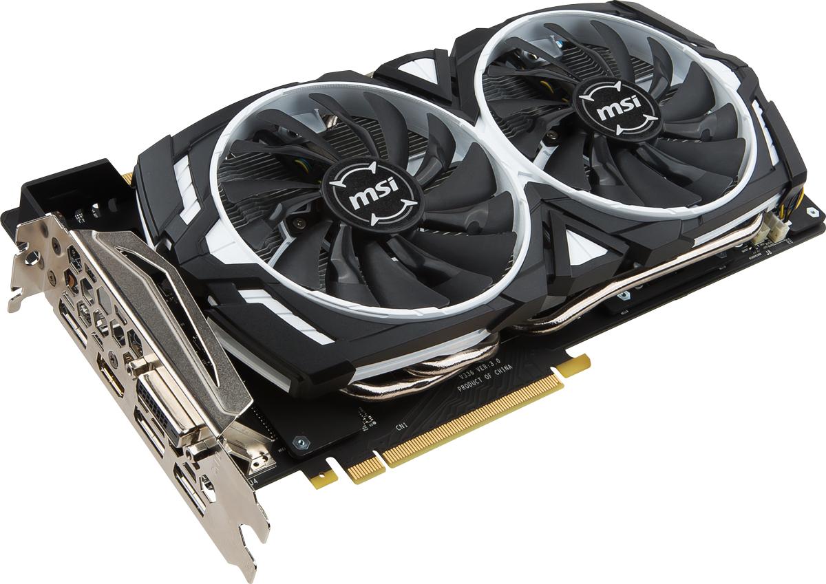 MSI GeForce GTX 1080 Armor 8GB видеокартаGTX 1080 ARMOR 8G OCMSI GeForce GTX 1080 Armor демонстрирует наивысшую производительность и поддерживает передовые технологии NVIDIA GameWorks и GeForce Experience в самых современных компьютерных играх.Видеокарта GTX 1080 на основе графического ядра Pascal демонстрирует высочайшую производительность и энергоэффективность, а такие особенности как, ультра-быстрые транзисторы FinFET и поддержка DirectX 12, способствуют плавному геймплею и высокой скорости в играх.Ядро Pascal разработано специально для работы с дисплеями следующего поколения, включая решения для виртуальной реальности, ультра-высокое разрешение и подключение нескольких мониторов. Технологии NVIDIA GameWorks обеспечивают максимально плавный геймплей и кинематографическое качество. Кроме этого, становится возможным осуществлять захват видео с революционно новыми возможностями - углом обзора 360 градусов.Откройте для себя новое поколение виртуальной реальности, минимальные задержки и plug-and-play совместимость с самыми популярными гарнитурами. Все это становится возможным благодаря технологиям NVIDIA VRWorks. Виртуальный звук, физика и ощущения позволят вам слышать и чувствовать каждый момент.Будь стильным вместе с уникальной графической картой MSI GeForce GTX 1080 Armor. Унаследовав дизайн Armor Shield, видеокарта выполнена в стильном черно-белом цвете. Идеальное решение для геймеров и кейс моддеров, которые ищут уникальный продукт для своих работ.Система охлаждения ARMOR 2X имеет два вентилятора MSI TORX. Благодаря запатентованному дизайну, вентиляторы MSI TORX обеспечивают великолепное охлаждение, оставаясь при этом невероятно тихими.Традиционные лопасти вентилятора направляют воздушный поток непосредственно на радиатор охлаждения. Дисперсионные лопасти вентилятора увеличивают нисходящий поток и максимально эффективно рассеивают тепло.Впервые представленная в 2008 году технология MSI ZeroFrozr не осталось незамеченной, в то время как сейчас, она уже успела стат
