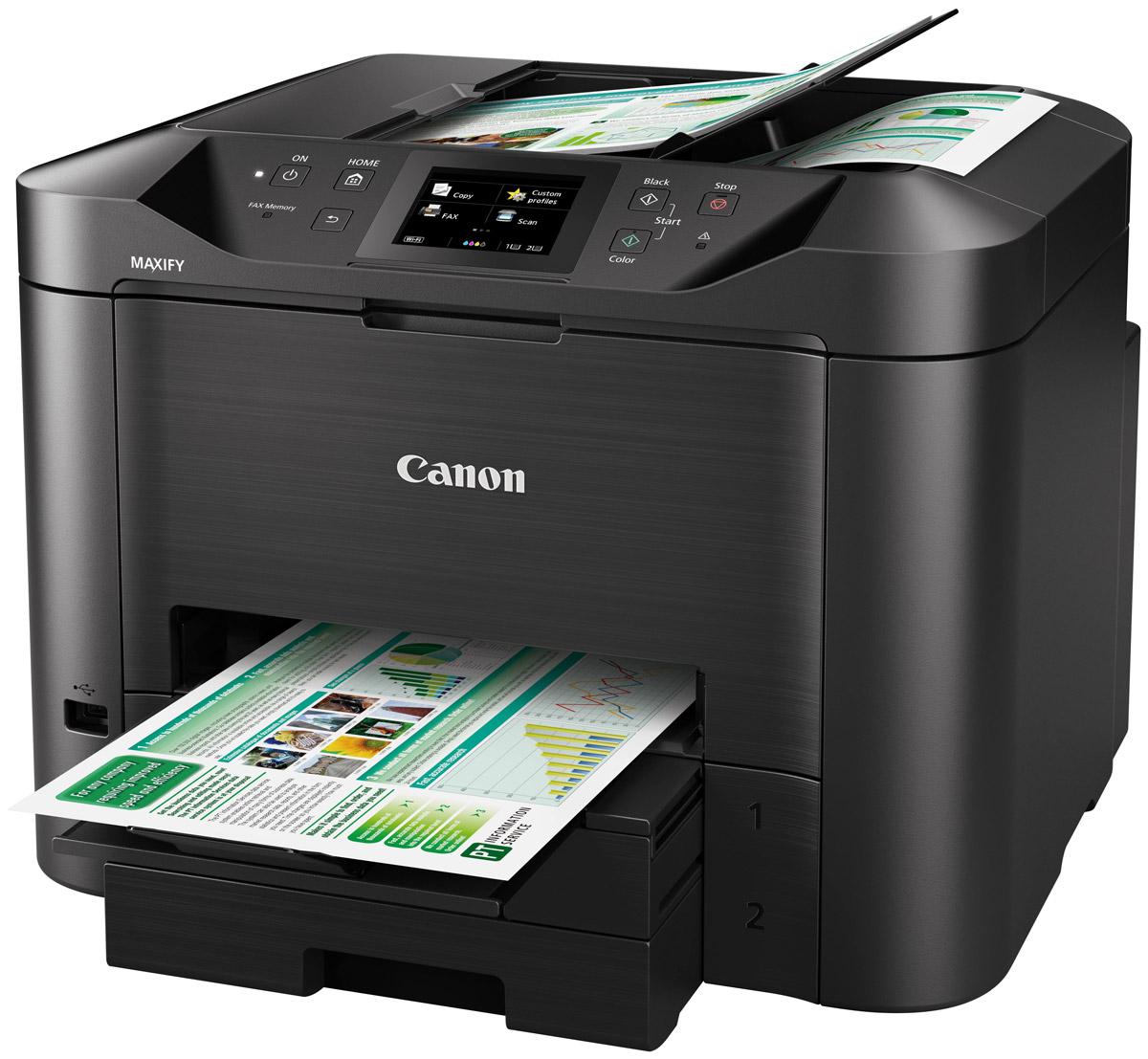 Canon Maxify MB5440 (0971C007) МФУ0971C007Canon Maxify MB5440 — идеальный выбор для эффективной печати в условиях небольших офисных пространств без ущерба для производительности, качества и надежности. Высококачественные устойчивые к маркерам чернила, возможности подключения по Wi-Fi и Ethernet и функция двустороннего сканирования за один проход позволяют выполнять печать больших объемов с более высокой скоростью, чем раньше.Технология Quick First Print значительно увеличивает скорость выхода первой страницы (FPOT) — примерно 6 секунд в монохромном режиме. Вы также можете быстро выполнять сканирование обеих сторон документа с помощью устройства двусторонней автоматической подачи документов за один проход (АПД).Чернила DRHD разработаны специально для бизнес-печати. Эти высококачественные чернила обеспечивают яркие цвета, насыщенные оттенки черного и четкий текст, а также препятствуют появлению пятен.Большой цветной сенсорный экран с диагональю 8,8 см обеспечивает удобный доступ ко всем функциям устройства Canon Maxify MB5440. В дополнение к устройству подачи повышенной емкости (на 500 листов), устройству автоматической подачи документов на 50 листов и функции двусторонней печати Canon Maxify MB5440 также поддерживает различные форматы и типы бумаги, от обычной бумаги формата A4 до этикеток, конвертов, фотобумаги и даже двустороннего копирования удостоверений личности, что упрощает выполнение общих заданий офисной печати.Устройство Canon Maxify MB5440 позволяет достичь превосходного качества печати с сохранением низких эксплуатационных расходов. Низкое энергопотребление в сочетании с ресурсами картриджей на 2500 страниц в монохромном режиме и 1500 страниц в цветном позволяет реже выполнять замену картриджей.Совместимость с протоколом SNMP (простой протокол сетевого управления) позволяет интегрировать принтер в существующую рабочую среду, упрощая его использование в офисе с большими объемами печати. Canon Maxify MB5440 обеспечивает это благодаря возможности отслеживать