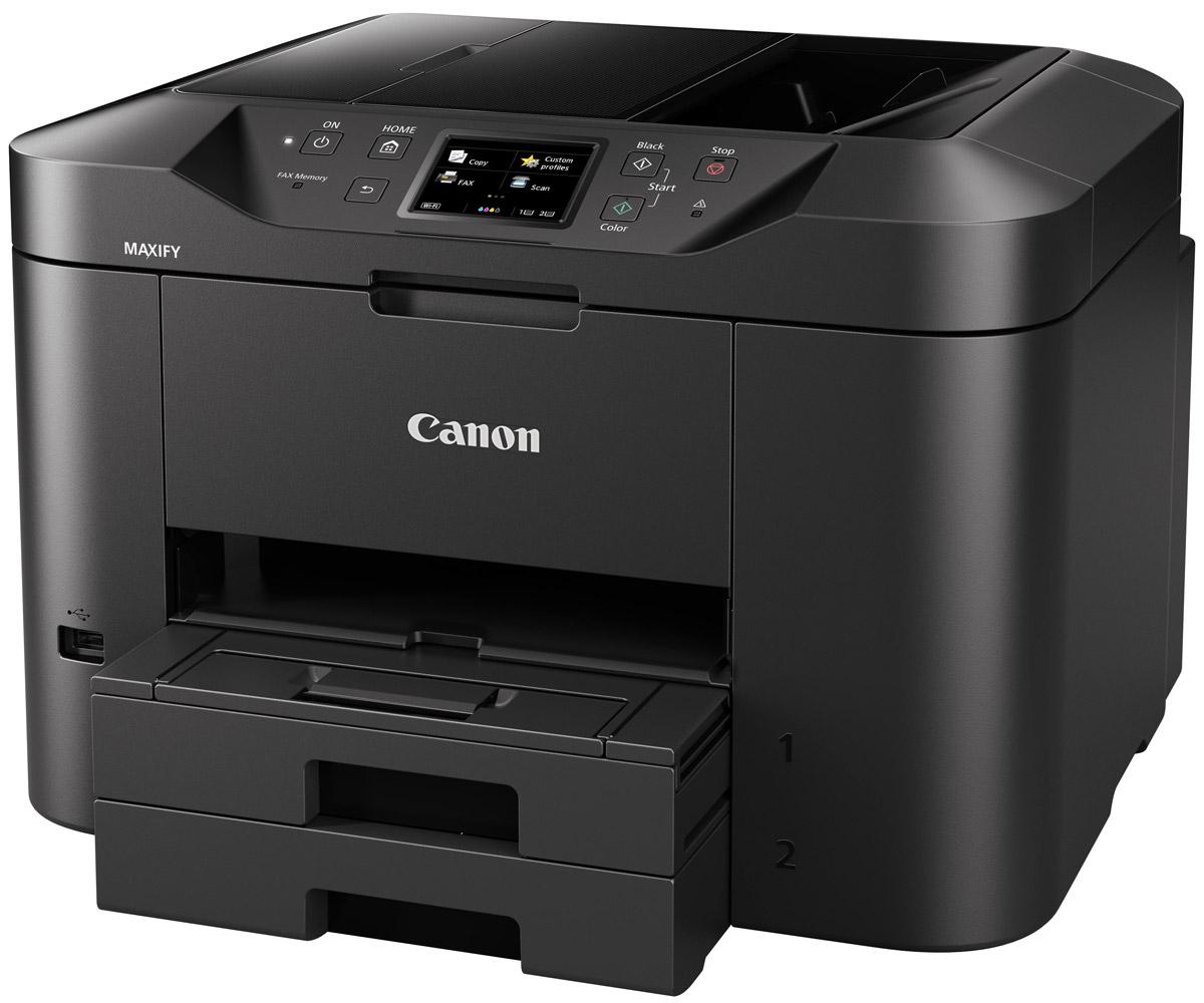 Canon Maxify MB2740 (0958C007) МФУ0958C007Многофункциональный принтер, сканер, копир и факс, разработанный для домашних офисов. Устройство Canon Maxify MB2740, оснащенное кассетой для бумаги большой емкости (на 500 листов) и устройством автоматической подачи документов на 50 листов, обеспечивает исключительные результаты печати с насыщенными оттенками черного, яркой цветопередачей и высокой четкостью текста за счет использования чернил DRHD, устойчивых к стиранию и маркерам. Высокое качество достигается не в ущерб скорости: печать формата A4 со сверхвысокой скоростью 24 изображения в минуту в монохромном режиме и 15,5 изображений в минуту в цветном режиме и время вывода первой страницы (FPOT) всего 6 секунд.Основной особенностью этого устройства является его экономичность — от низкого потребления энергии всего 0,2 кВт/ч (обычное потребление энергии) до цветных картриджей с возможностью индивидуальной замены. Черные картриджи имеют ресурс 1200 страниц в соответствии со стандартом ISO, а цветные картриджи — 900 страниц. Дополнительно приобретаемый экономичный набор (4 цвета) представляет собой полный набор сменных чернил всех цветов для еще большей экономии.Двусторонняя печать и поддержка различных форматов и типов бумаги — от обычной бумаги формата A4 до этикеток, конвертов, фотобумаги и даже двустороннего копирования удостоверений личности — упрощает выполнение общих заданий офисной печати. Выполняйте печать, копирование, сканирование или отправку факсов всего в несколько касаний с помощью быстрореагирующего цветного сенсорного TFT-экрана с диагональю 7,5 см (3) и улучшенного интерфейса.Поддержка сервисов Виртуальный принтер Google, Apple AirPrint (iOS), Mopria и приложения Canon PRINT обеспечивает высокую скорость и удобство печати и сканирования с мобильных устройств. Вы можете печатать из облака, а также сканировать и сохранять документы в облачных сервисах. К поддерживаемым сервисам относятся Google Drive, Dropbox, Evernote, OneNote, OneDrive и Concur. Встроенны