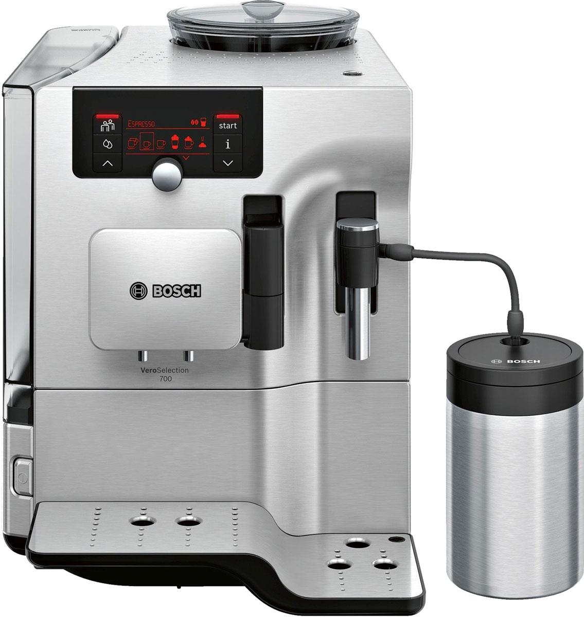 Bosch TES80721RW кофемашинаTES80721RWКофемашина Bosch TES80721RW создана для тех, кто любит наслаждаться кофейными напитками как можно дольше. Bosch предлагает специальную функции очистки кофемашины от накипи и масел. Просто активируйте функцию CalcnClean, используя специальные средства по уходу и чистке кофемашин.CreamCleaner - программа, позволяющая быстро и удобно очистить капучинатор от остатков молока. Достаточно нажать на кнопку и процесс очистки начнется автоматически.В автоматическом капучинаторе происходит смешивание горячего пара, подающегося под высоким давлением, и молока, поступающего по трубке из отдельной ёмкости. В результате чего получается молочная пенка.Большой выбор напитков и комфорт при приготовлении. Функция OneTouch для приготовления кофейных напитков одним нажатием кнопки и PersonalCoffee Pro для сохранения индивидуальных настроек.