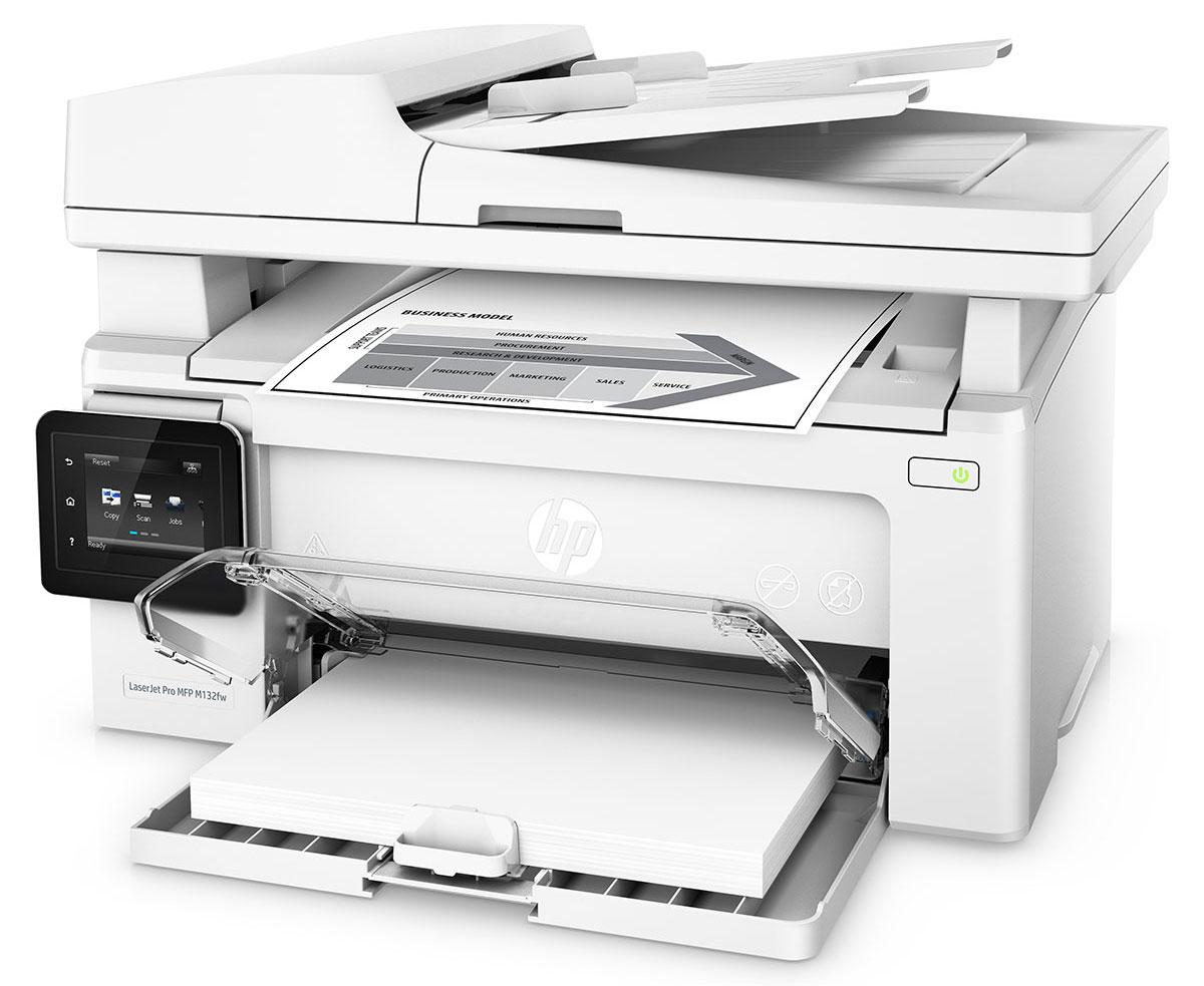 HP LaserJet Pro M132fw МФУG3Q65A#B09Оцените удобные возможности для работы с помощью компактного устройства HP LaserJet Pro M132fw и картриджей с технологией JetIntelligence. Это беспроводное МФУ позволяет печатать документы профессионального качества с различных мобильных устройств, сканировать и копировать материалы, использовать факсимильную связь, а также значительно экономить энергию.Компактное МФУ HP LaserJet Pro M132fw занимает совсем немного места, оно объединяет в себе функции печати, сканирование, копирования и отправки факсов.Вам не придется долго ждать. Печать до 22 страниц в минуту, выход первой страницы всего за 7,3 секунды.Используйте цветной сенсорный экран с диагональю 6,9 см, чтобы управлять заданиями и отправлять отсканированные документы по электронной почте или в сетевые папки.Печать с iPhone и iPad с помощью технологии AirPrint с автоматическим подбором масштаба в соответствии с форматом бумаги.С помощью функции HP ePrint можно выполнять печать непосредственно со смартфонов, планшетов и ноутбуков. Это так же легко, как отправлять сообщения по электронной почте.Благодаря технологии Wi-Fi Direct можно выполнять печать напрямую с мобильных устройств без подключения к корпоративной сети.Технология Google Cloud Print 2.0 позволяет отправлять задания печати напрямую со смартфона, планшета или ПК на любой принтер компании.Черный тонер обеспечивает высокую контрастность черно-белых текстов, шрифтов и графических изображений. Специальная технология контроля поможет следить за уровнем тонера и печатать максимальное количество страниц.Благодаря автоматическому снятию защитной ленты-заглушки и удобной упаковке замена картриджей не представляет сложности.