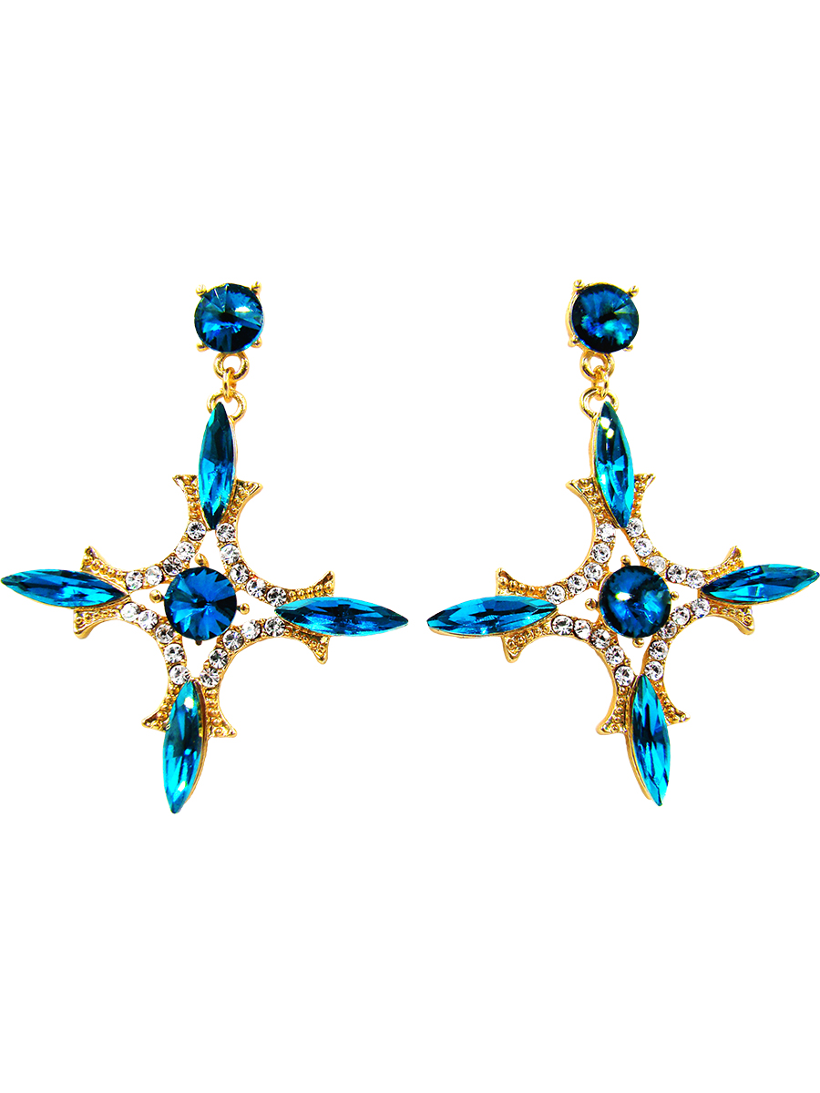Серьги Taya, цвет: золотистый, синий. T-B-10042Пуссеты (гвоздики)Серьги-гвоздики с заглушкой из металла и пластика изготовлены из гипоаллергенного бижутерногосплава. Серьги выполнены с крупными нежными кристаллами, направленными на четыре стороны света: север, юг, запад, восток.