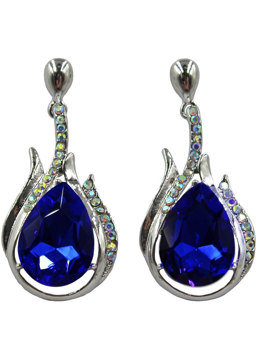 Серьги Taya, цвет: серебристый, темно-синий. T-B-10713-EARR-SL.D.BLUEСерьги с подвескамиСерьги-гвоздики с заглушкой металл-пластик изготовлены из гипоаллергенного бижутерного сплава. Серьги с кристаллом в форме капельки, дополнены россыпью из страз.