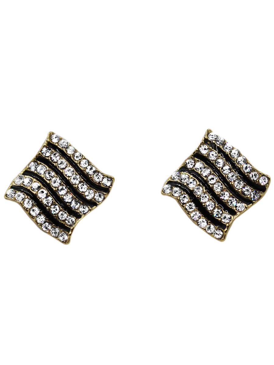 Серьги Taya, цвет: золотистый. T-B-10718-EARR-GOLDСерьги с подвескамиОригинальные серьги-гвоздики изготовлены из гипоаллергенного бижутерного сплава. Серьги выполнены в модном дизайне оформлены россыпью из страз.