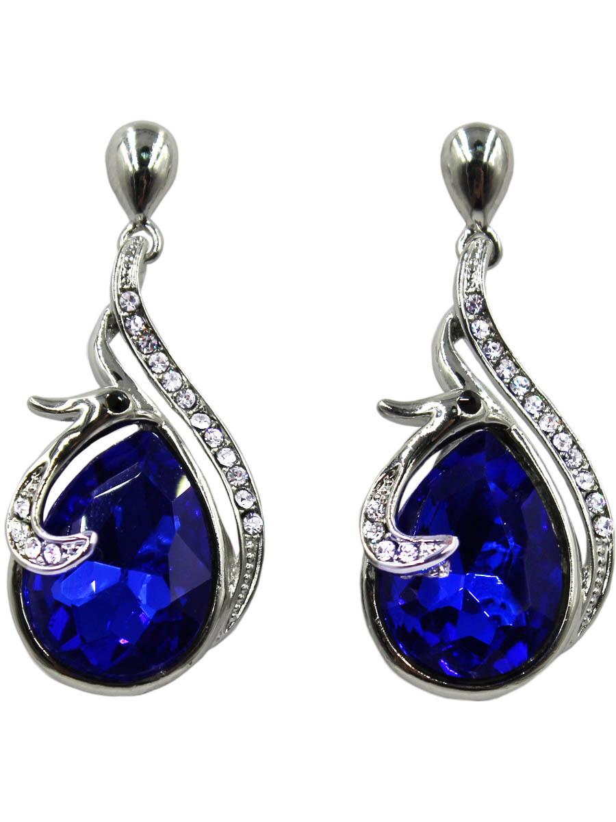 Серьги Taya, цвет: серебристый, темно-синий. T-B-10771-EARR-SL.D.BLUEСерьги с подвескамиСерьги-гвоздики с заглушкой металл-пластик изготовлены из гипоаллергенного бижутерного сплава. Птичка с глазками-стразами нежно обвивает сапфирового цвета кристалл.