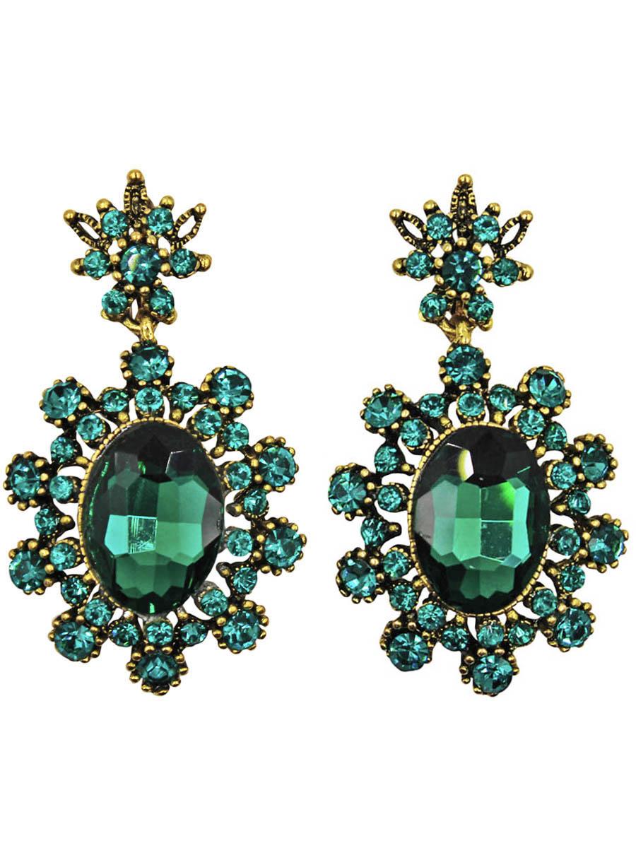 Серьги Taya, цвет: золотистый, зеленый. T-B-10996Серьги с подвескамиСерьги с английским замком изготовлены из гипоаллергенного бижутерного сплава. Серьги-солнышки, нарядные и заметные оформлены сверкающим кристаллом по середине и россыпью изстразов.