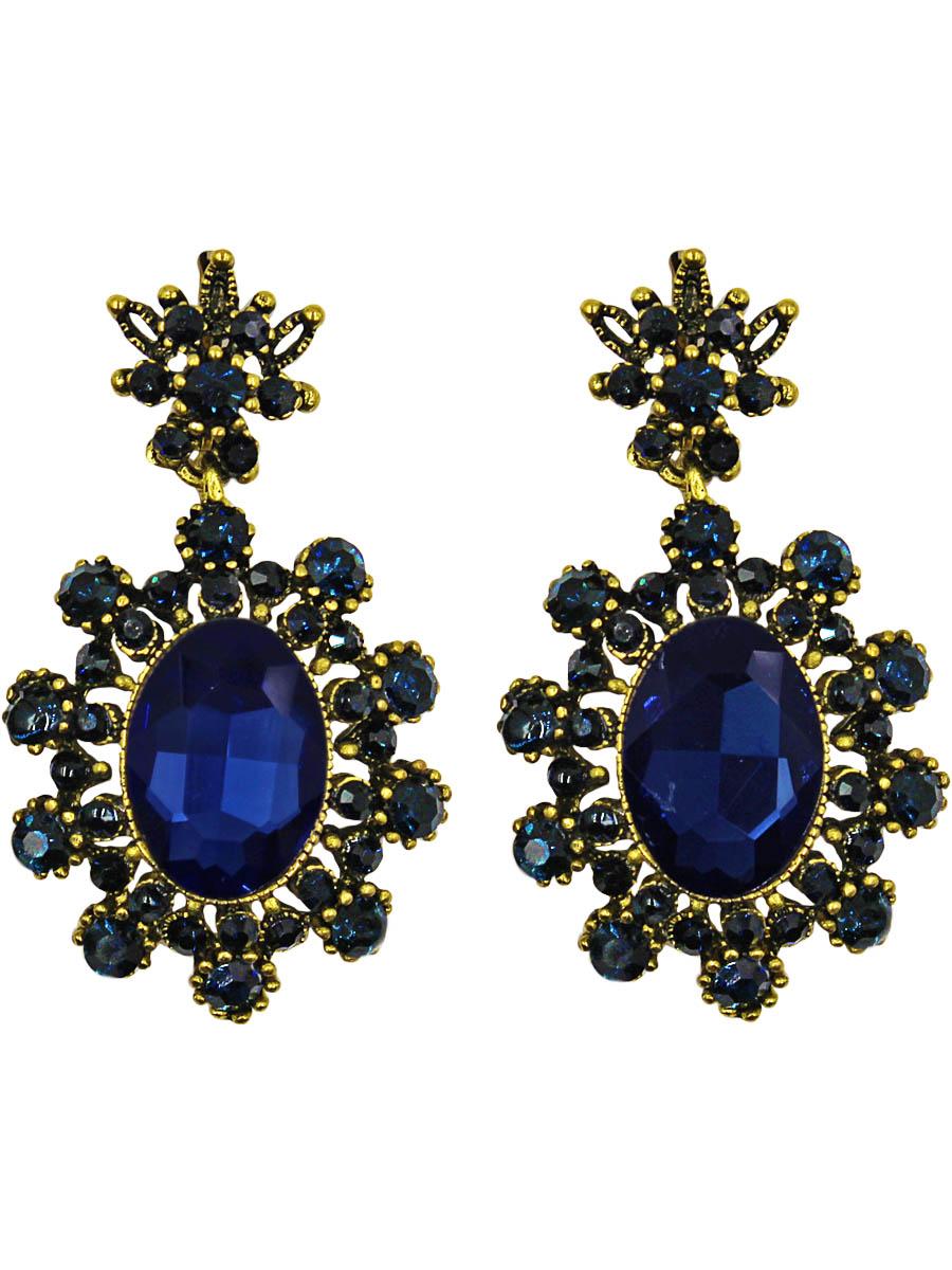 Серьги Taya, цвет: золотистый, темно-синий. T-B-10997-EARR-GL.D.BLUEПуссеты (гвоздики)Серьги с английским замком изготовлены из гипоаллергенного бижутерного сплава. Серьги-солнышки, нарядные и заметные оформлены сверкающим кристаллом по середине и россыпью изстраз.