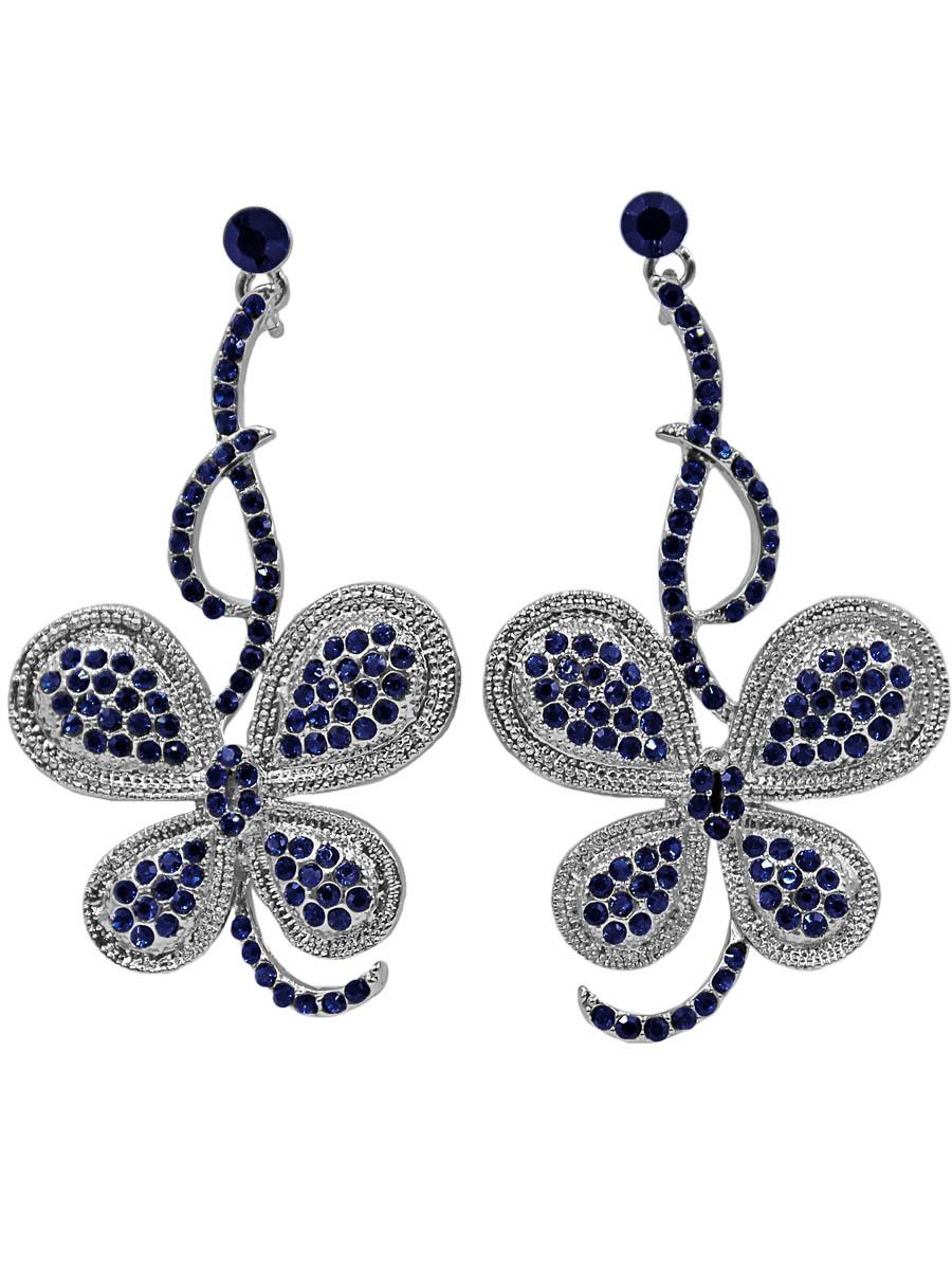 Серьги Taya, цвет: серебристый, синий. T-B-11282-EARR-SL.NAVYПуссеты (гвоздики)Серьги-гвоздики с заглушкой металл-пластик изготовлены из гипоаллергенного бижутерного сплава. Сделаны в виде изогнутой веточки, на которой расположилась бабочка-голубянка с вкраплениями синих страз.