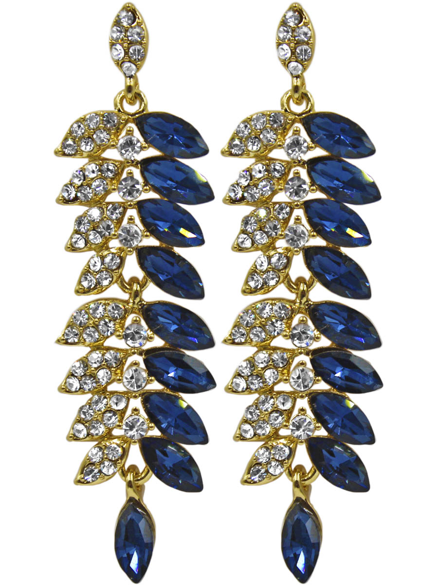 Серьги Taya, цвет: золотистый, синий. T-B-11326-EARR-GL.NAVYСерьги с подвескамиСерьги-гвоздики с заглушкой металл-пластик изготовлены из гипоаллергенного бижутерного сплава. Серьги выполнены в форме колоска, одна половина которого собрана из сапфировых кристаллов, а вторая половина усыпана прозрачными стразами.