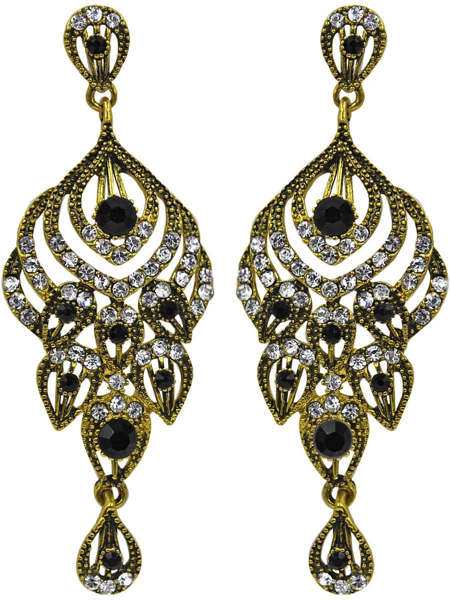 Серьги Taya, цвет: темное золото. T-B-11383-EARR-D.GOLDСерьги с подвескамиСерьги-гвоздики с заглушкой металл-пластик изготовлены из гипоаллергенного бижутерного сплава. Сережки выполнены из состаренного золотого металла, украшены кристальными и жгуче-черными стразами.