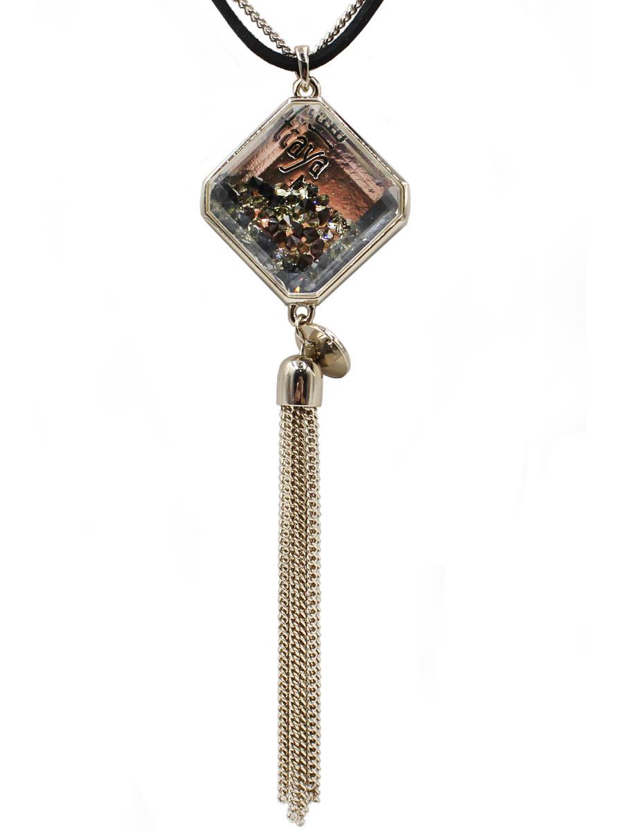 Колье Taya, цвет: светлое золото, черный. T-B-12103-NECK-BK.L.GOLD39890 Колье (короткие одноярусные бусы)Фирменный кулон на двойной цепи выполнен из металла и текстиля. Кулон дополнен стильной подвесной кисточкой из небольших цепочек.