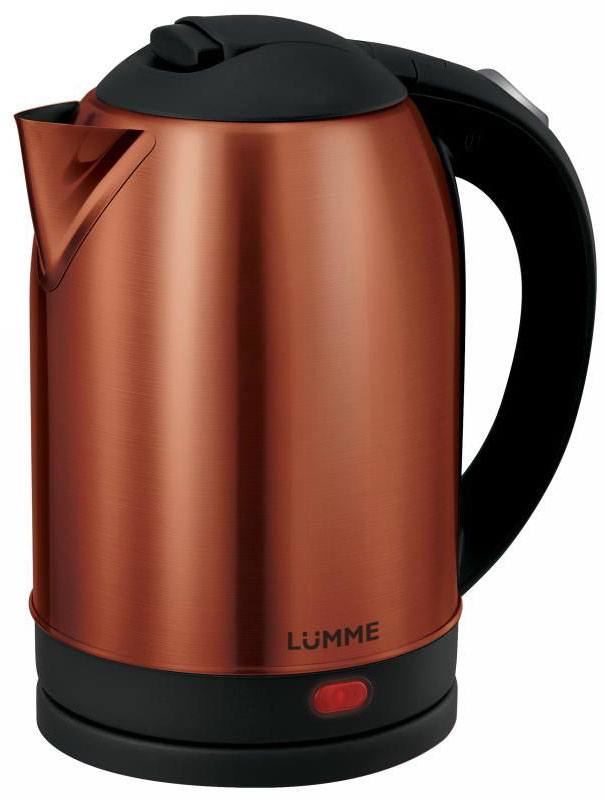 Lumme LU-218, Dark Garnet электрочайникLU-218Вместительный металлический чайник Lumme LU-218 объемом 2.0 литра из высококачественной нержавеющей стали.Пищевая нержавеющая сталь способствует сохранению природного вкуса и натуральных свойств воды. Для быстрого закипания чайник оснащен нагревательным элементом мощностью 1,7 кВатт, защищенного плоским стальным дном для равномерности нагрева, противостояния накипи, коррозии и для большего удобства в уходе.Система автоматического отключения при закипании или недостаточном количестве воды заметно продлит срок работы чайника. Чайник оснащен базой питания, позволяющей брать его с любой стороны или вращать на 360 градусов, что делает прибор совершенно безопасным, а его эксплуатацию комфортной.