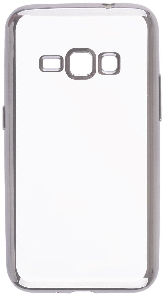 Skinbox 4People Silicone Chrome Border чехол-накладка для Samsung Galaxy J1 (2016), Silver