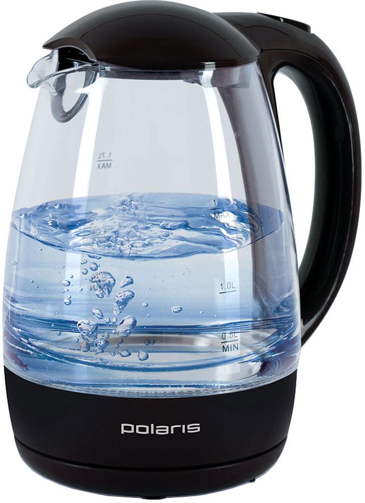 Polaris PWK 1768CGL, Black электрочайникPWK 1768CGL_черныйКорпус чайника Polaris PWK 1768CGL выполнен из высококачественного термостойкого стекла, сохраняющегоприродные свойства воды.Благодаря максимальной мощности 2200 Вт, данная модель за считанные минуты вскипятит 1,7 литра воды.Прозрачный корпус с двусторонней шкалой контроля уровня и внутренней подсветкой позволяет следить за тем,как нагревается вода. Чайник соединён с базой центральным контактом и легко вращается на 360°.Крышка чайника открывается легким нажатием. Съемный фильтр легко снимается, его можно мыть вручную или впосудомоечной машине. Нагревательный элемент встроен в плоское дно и надежно защищен стальной пластиной,что делает его чистку максимально удобной. Среди характеристик безопасности использования чайника стоитотметить автоматический и ручной выключатели, а также защиту от перегрева.