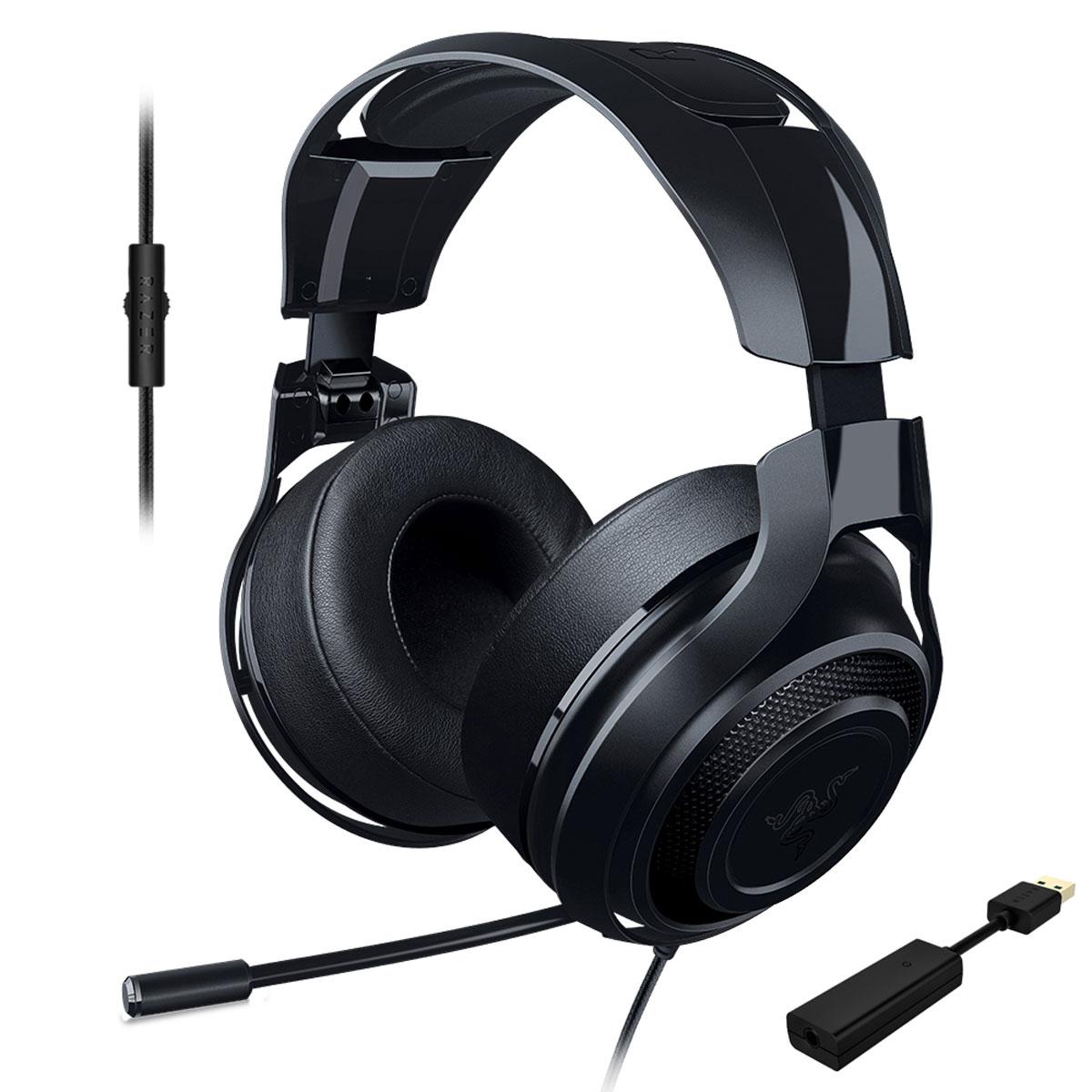 Razer ManO'War 7.1, Black игровые наушникиRZ04-01920200-R3G1Выйти на новый уровень звучания вам позволит игровая гарнитура Razer ManOWar 7.1. Благодаря современной системе виртуального объемного звука формата 7.1 и мягким, большим амбушюрам с хорошей шумоизоляцией вы словно оказываетесь в самом центре событий. Увеличенные динамики превосходного качества обеспечивают бесспорную реалистичность звукового окружения, а выдвижной микрофон позволяет с комфортом руководить победным наступлением.Заручитесь преимуществом абсолютного погружения в игру, которое дает вам Razer ManOWar 7.1, и наслаждайтесь торжеством победы в каждой битве.Гарнитура Razer ManOWar 7.1 оснащена запатентованной системой формирования виртуального объемного звука в формате 7.1. Система с самого начала разрабатывалась, чтобы дать возможность с головой уйти в игру. Специальный USB-адаптер обрабатывает аудио с минимальной задержкой и модулирует источник звука, формируя впечатляющее, реалистичное звуковое окружение.Гарнитура Razer ManOWar 7.1 обеспечивает реалистичное звучание игрового класса благодаря большим 50-миллиметровым динамикам с индивидуальной настройкой. Закрытая конструкция наушников и мягкая окантовка по краю амбушюр гарантируют качественную шумоизоляцию. Вы сможете уделять все внимание игре, не отвлекаясь на посторонние звуки.Настраивайте звук в пылу сражений, используя аналоговый MEMS-микрофон со встроенным пультом. Гибкий телескопический микрофон выдвигается из левого амбушюра тогда, когда вам нужно. Вы можете его точно отрегулировать, чтобы добиться кристально четкого звучания.Кросс-платформенная совместимость обеспечивается благодаря отсоединяемому USB ЦАПу. К примеру, вы сможете мгновенно переключить гарнитуру Razer ManO'War 7.1 с ПК на мобильное устройство. На проводе имеется пульт управление громкостью, а микрофон убирается внутрь чашки наушников.Микрофон:Выдвижная конструкция микрофонаКнопка отключения микрофона на проводеЧастотные характеристики: 100–10000 ГцСоотношение сигнал/шум: >