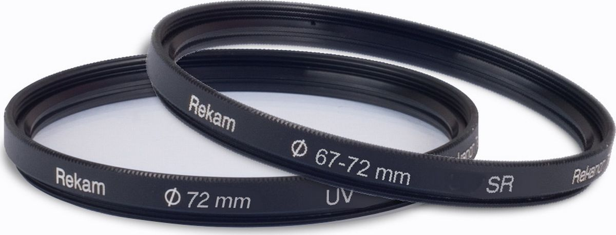 Rekam набор UV-фильтр 72 мм + переходное кольцо 67-72 мм1601002807Набор от Rekam состоит из ультрафиолетового фильтра и переходного кольца.Ультрафиолетовые фильтры с многослойным просветлением предназначены для защиты объектива от ультрафиолетовых лучей. С их помощью можно создавать фотоснимки, которые невозможно получить при обработке на компьютере.Особенности фильтров UV: защищают объектив от механических повреждений, пыли, грязи, отпечатков пальцев, а также повышают контрастность снимков.Переходные кольца предназначены для использования фильтров, конвертеров и бленд с резьбовым креплением большего диаметра. Повышающие кольца позволяют полноценно использовать светофильтры большего размера на объективах с меньшей резьбой, без виньетирования и уменьшения поля кадра.