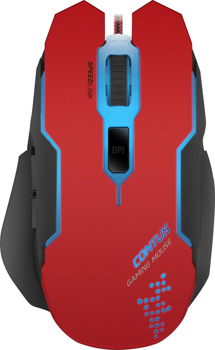 Speedlink Contus, Black Red мышь игроваяSL-680002-BKRDВ удобстве и точности игровой мыши Speedlink Contus можно не сомневаться. Пять кнопок, лазерный сенсор с точностью до 3200 dpi делают ее гибким и надежным прецизионным инструментом. Игровая мышь Speedlink Contus периодически меняет подсветку, что делает любую игру еще более разнообразной и служит индикатором выбранного профиля.5 программируемых кнопок:Высокочувствительные кнопки мгновенно переносят ваши команды у игру, две дополнительные боковые кнопки можно задействовать как для выделенных игровых команд, так и для голосового чата.Оптический сенсор с разрешением 3200 dpi:Надежный оптический сенсор прекрасно работает без срывов на любых поверхностях, а разрешения 3200 dpi хватит для большинства современных игр и ситуаций.Усиленная конструкция кабеля:Кабель в защитной тканевой оплетке поможет мышке прослужить максимально долго, даже при использовании мыши в самых жарких сражениях.Кабель длиной 1.8 м:Длина кабеля позволяет комфортно пользоваться мышкой, даже если системный блок ПК расположен под столом.Переключатель DPI:Отдельная кнопка для переключения DPI помогает оперативно менять разрешение мыши в зависимости от игровой ситуации – обеспечьте себе высокую точность снайпера и быстрый поворот башни танка.7 цветов подсветки:Возможность создать нужную атмосферу на игровом месте с помощью различных цветов подсветки, помогает настроится на игру и получить от неё максимум удовольствия.Противоскользящее покрытие:Корпус мышки имеет специальное покрытие, оно обеспечивает надежный хват мыши рукой, мышь не проскальзывает в руке даже в самых жарких баталиях. Покрытие не облазит под воздействием пота и загрязнений, просто протрите мышь и она станет как новая.
