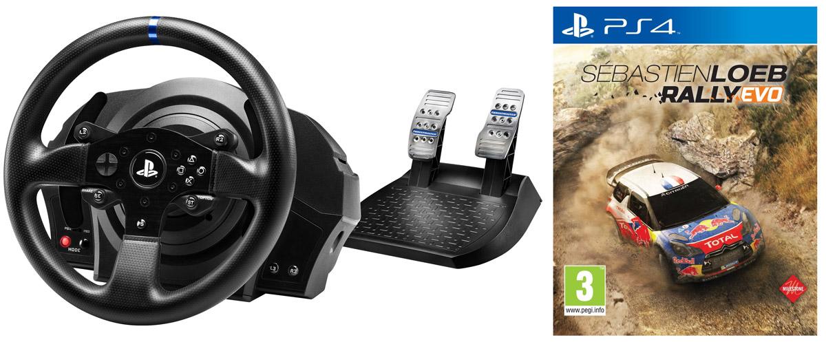 Thrustmaster T300 RS EU Version руль для PS3/PS4 + игра Sebastien Loeb Rally Evo (PS4)THR48Гоночный руль Thrustmaster T300 RS имеет официальные кнопки PlayStation 4 (PS, Share, Options), что дает доступ к новым функциям общения моментальным переключением между игрой и системой когда угодно.Реалистичный — гоночный руль диаметром 28 см с перемычками из шероховатого металла.Усиленное текстурированное прорезиненное покрытие по всей поверхности руля.В сервомоторе сочетается привод вращательного движения (технология H.E.A.R.T HallEffect AccuRate Technology), обеспечивающий точность управления угловым положением, скоростью и ускорением, и промышленный бесщеточный мотор типа brushless.Кроме того, сервомотор Thrustmaster связан с достаточно сложным алгоритмом FOC (Field oriented Control, управление с учетом полевых испытаний), обеспечивающим оптимальную эффективность, минимальный показатель cogging, наибольшую плавность движения, высочайшую точность и наибольший крутящий момент силовой обратной связи.Вес порядка 1,2 кг для ультрареалистичного ощущения инерции и силовой обратной связи.На руле 2 крупных фиксированных лепестковых переключателя.Лепестковые переключатели высотой 13 см 100% металлические.Тактовая кнопка с жизненным циклом более 10 млн активаций.Комплексное гоночное снаряжение.13 функциональных кнопок (в том числе 2 на базе ) + 1 многопозиционная кнопка.Съемный руль с системой быстрого крепления Thrustmaster Quick ReleaseСупермягкая и плавная силовая обратная связь, исключительная чувствительность и реалистичные силовые эффектыНовый оптимизированный механизм без трения с двумя ремнямиУдобная смена гоночных рулейТехнология H.E.A.R.T HallEffect AccuRate Technology с бесконтактным магнитным датчиком - точность, не убывающая со временем16-битное разрешение, то есть 65536 значений на поворотУгол поворота регулируется в диапазоне от 270° до 1080°Встроенная память и обновляемая прошивка