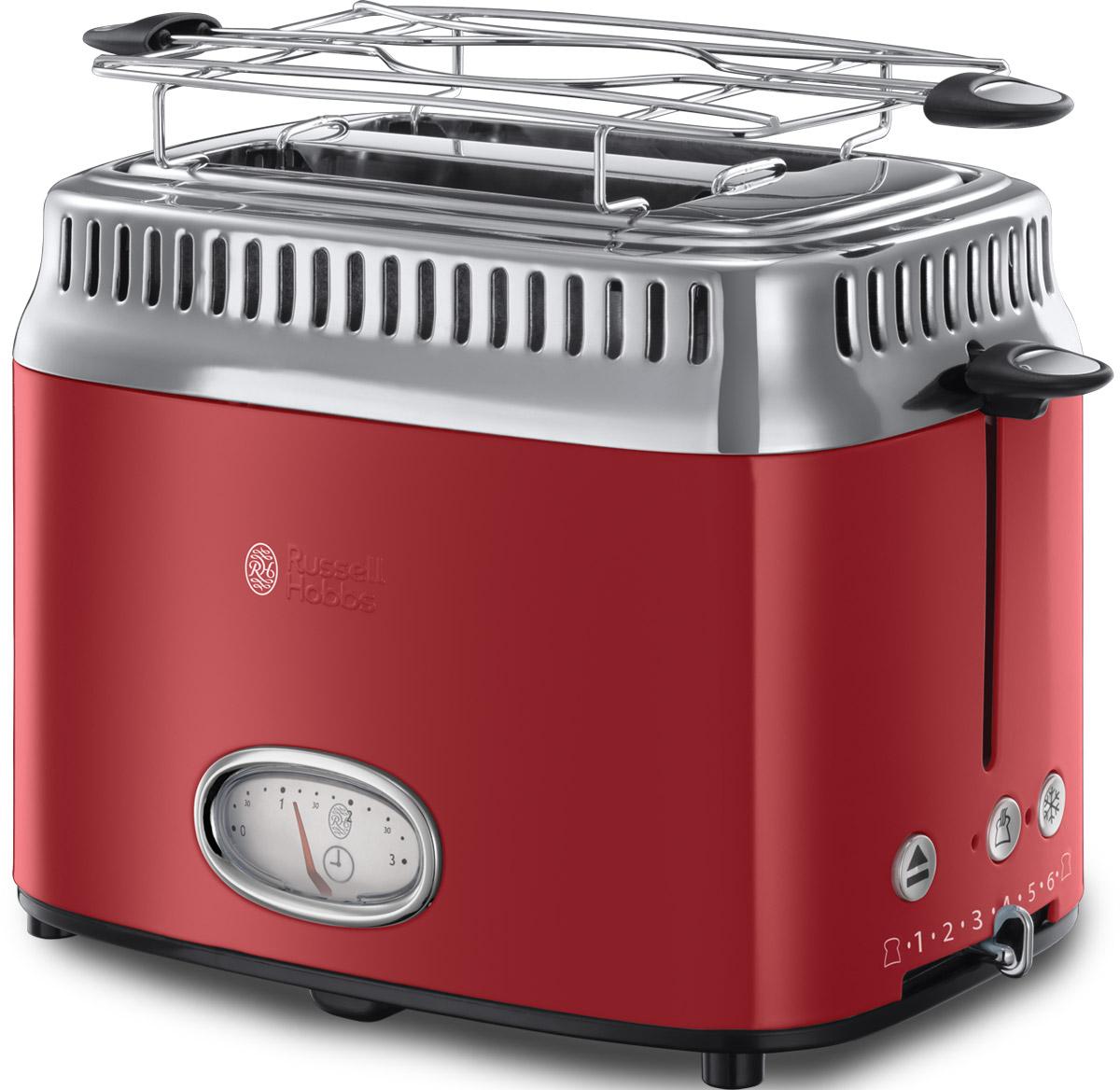 Russell Hobbs Retro, Ribbon Red тостер21680-56Новинка сезона Осень-Зима 2016 года, тостер Russell Hobbs Retro входит в коллекцию приборов для Завтраков Retro, которая включает в себя еще и Чайник и Кофеварку. Если вы любите тосты, эта привлекательная модель тостера предоставит вам такое удовольствие в полной мере.Предпочитаете слегка подогретый хлеб или тосты с поджаристой хрустящей корочкой? Выберите нужную степень поджарки тостов и наслаждайтесь результатом. Стильная винтажная шкала обратного отсчета времени приготовления наглядно отображает время до готовности тостов. Хороший завтрак это начало хорошего дня, но времени на завтрак всегда критично мало. Понимая это, Russell Hobbs оснастил новые тостеры Retro технологией быстрого приготовления, которая сбережет ценные минуты с утра. Функция lift and look позволяет проверить готовность тостов, не прерывая процесс приготовления. В комплект к тостеру входит удобная решеточка для подогрева круассанов, бейглов и сэндвичей, а выдвижной лоток для сбора крошек поможет сохранять чистоту прибора.