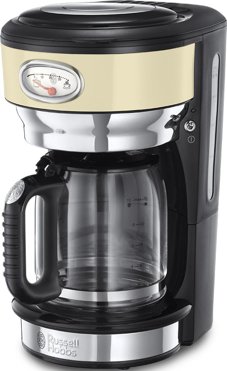 Russell Hobbs Retro, Vintage Cream кофеварка21702-56Потрясающий дизайн кофеварки Retro Vintage Cream станет особо любимым предметом на кухне ценителей кофе. Несмотря на винтажную внешность, эта модель оснащена всеми современными технологиями для качественного приготовления настоящего кофе с превосходным вкусом. В кофеварке используется усовершенствованная система заваривания кофе для улучшенной экстракции кофеина и аромата. Вода впрыскивается в резервуар с молотым кофе через несколько отверстий, в виде душа, полностью пропитывая весь объем кофе, что обеспечивает эффективное заваривание и как результат кофе получается с насыщенным вкусом и ароматом.Функция подогрева готового кофе позволитвам насладиться второй или даже третьей чашечкой любимого горячего напитка. Чтобы кофе был сбалансирован по вкусу, необходимо соблюдать правильную пропорцию, для этого в комплекте есть мерная ложечка на идеальную порцию кофе. Насыпайте в фильтр столько ложек кофе, сколько порций вы хотите приготовить. Кофеварка коллекции Retro оснащена стильной шкалой процесса заваривания кофе и времени сохранения наилучшего вкуса готового кофе. Это не только стильная фишка в кофеварке, но и любопытное напоминание о том, что кофе лучше выпить в течение определенного времени, ведь со временем вкус и аромат готового напитка теряется. Функция Пауза позволит вам не ждать пока приготовится весь объем кофе и насладиться первой чашечкой свежесваренного кофе в любой момент.