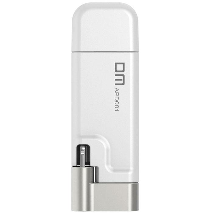 DM Aiplay 64GB, White USB-накопитель6936657001203USB-накопитель DM Aiplay предназначен для устройств Apple, поддерживающих интерфейс Lightning. Этот накопитель расширяет ёмкость диска iPhone, iPad, iPod.Разъём Lightning расположен на поворотном штекере, позволяющем расположить корпус накопителя за задней стенкой смартфона, плеера или планшета. Поворотный коннектор увеличивает комфорт пользователей и позволяет хранить мобильное устройство в кармане куртки или сумки с подключённой флэшкой.Фирменное, бесплатное приложение DM Aiplay скачивается с App Store на устройство владельцев и расширяет возможности накопителя. Приложение сохраняет фото с камеры на флэшку, минуя диск мобильного устройства, позволяет переносить файлы с компьютера на телефон, плеер или планшет и резервирует список контактов, фотоальбом или другую ценную информацию.