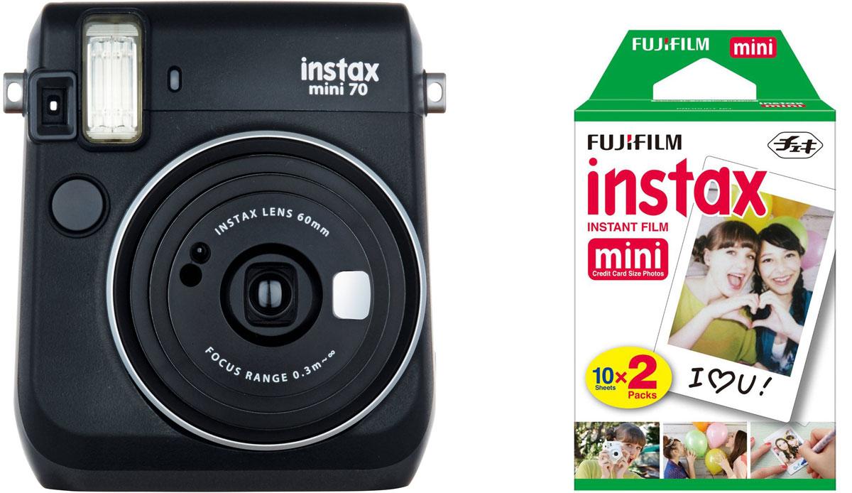 Fujifilm Instax Mini 70, Black фотокамера мгновенной печати +ColorfilmInstax Mini (10/2PK) картридж fujifilm instax mini 8 black фотокамера мгновенной печати colorfilm instax mini glossy 10 pk картридж
