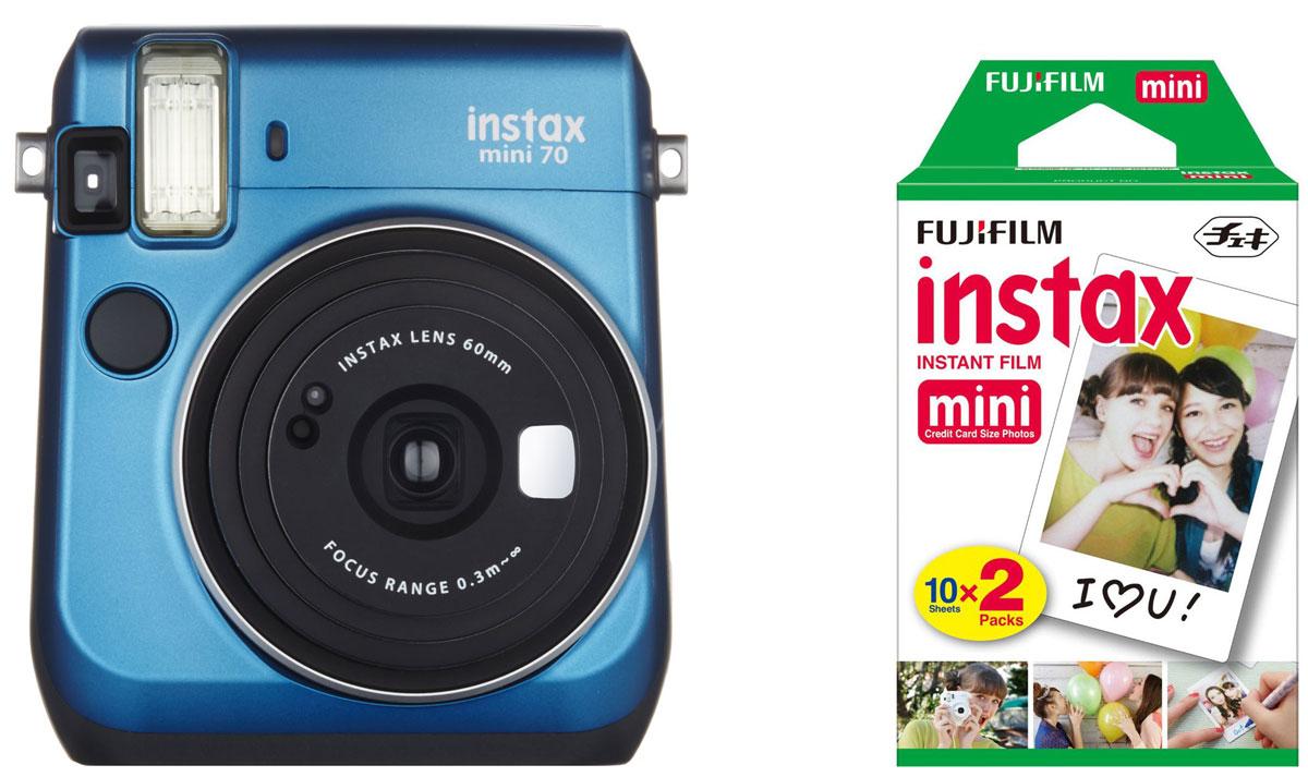 Fujifilm Instax Mini 70, Blue фотокамера мгновенной печати + Colorfilm Instax Mini (10/2PK) картридж16496079С камерой Fujifilm Instax Mini 70 вы превратите серые будни в особенные дни, наполненные улыбками. Чтобы проводить время весело, всегда и везде берите с собой этот стильный фотоаппарат.Главной особенностью камеры является функция автоматического контроля экспозиции, которая позволяет запечатлеть, как объект съемки, так и фон в их естественной освещенности. Помимо этого Instax Mini 70 может похвастаться отдельным режимом съемки для создания cелфи.Использование режима selfie обеспечивает оптимальную яркость и расстояние для съемки автопортретов. Вы также можете проверить кадрирование в специальном зеркальце рядом с объективом.Высокопроизводительная вспышка автоматически определяет яркость окружающего освещения и устанавливает оптимальную выдержку - специальные настройки не требуются!С помощью функции Hi-Key можно запечатлеть яркие, красивые тона кожи. Также имеются режимы для съемки макро и пейзажей. Для максимального удобства также предусмотрена заполняющая вспышка и стандартное штативное гнездо.Используемая фотопленка: Fujifilm Instax MiniРазмер фотографии: 62 х 46 ммУправление экспозицией: автоматическоеКоррекция экспозиции: ±2/3 EVПитание: CR2/DL CR2 х 2Ресурс батарей: 30 упаковок фотобумаги (по результатам исследований Fujifilm)