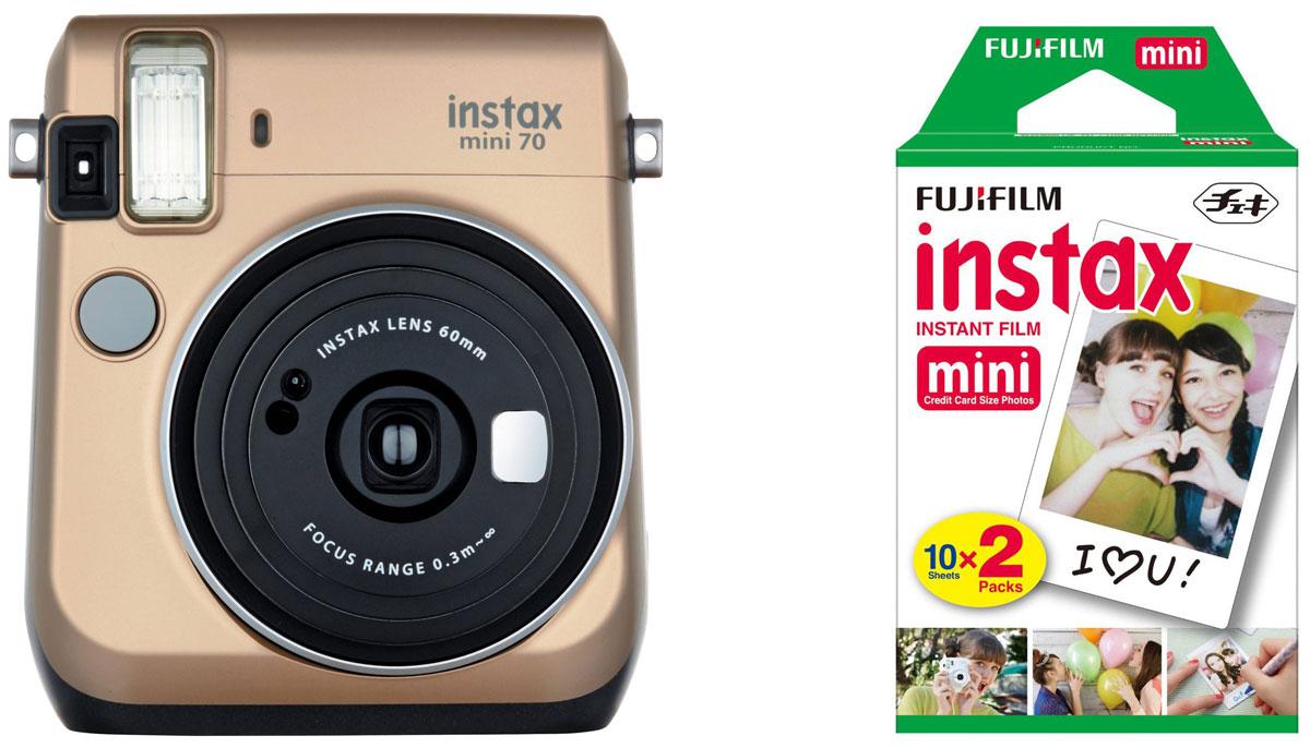Fujifilm Instax Mini 70, Gold фотокамера мгновенной печати +ColorfilmInstax Mini (10/2PK) картридж16513891С камерой Fujifilm Instax Mini 70 вы превратите серые будни в особенные дни, наполненные улыбками. Чтобы проводить время весело, всегда и везде берите с собой этот стильный фотоаппарат.Главной особенностью камеры является функция автоматического контроля экспозиции, которая позволяет запечатлеть, как объект съемки, так и фон в их естественной освещенности. Помимо этого Instax Mini 70 может похвастаться отдельным режимом съемки для создания cелфи.Использование режима selfie обеспечивает оптимальную яркость и расстояние для съемки автопортретов. Вы также можете проверить кадрирование в специальном зеркальце рядом с объективом.Высокопроизводительная вспышка автоматически определяет яркость окружающего освещения и устанавливает оптимальную выдержку - специальные настройки не требуются!С помощью функции Hi-Key можно запечатлеть яркие, красивые тона кожи. Также имеются режимы для съемки макро и пейзажей. Для максимального удобства также предусмотрена заполняющая вспышка и стандартное штативное гнездо.Используемая фотопленка: Fujifilm Instax MiniРазмер фотографии: 62 х 46 ммУправление экспозицией: автоматическоеКоррекция экспозиции: ±2/3 EVПитание: CR2/DL CR2 х 2Ресурс батарей: 30 упаковок фотобумаги (по результатам исследований Fujifilm)