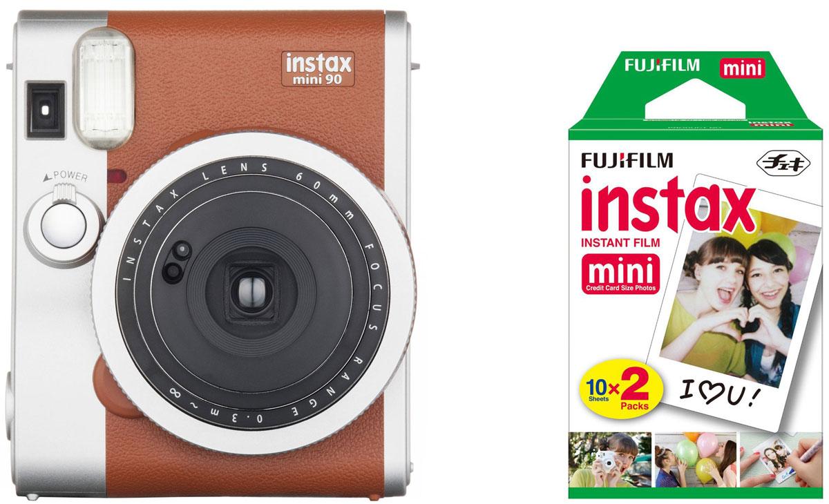 Fujifilm Instax Mini 90, Brown фотокамера мгновенной печати +ColorfilmInstax Mini (10/2PK) картридж fujifilm instax mini 8 black фотокамера мгновенной печати colorfilm instax mini glossy 10 pk картридж