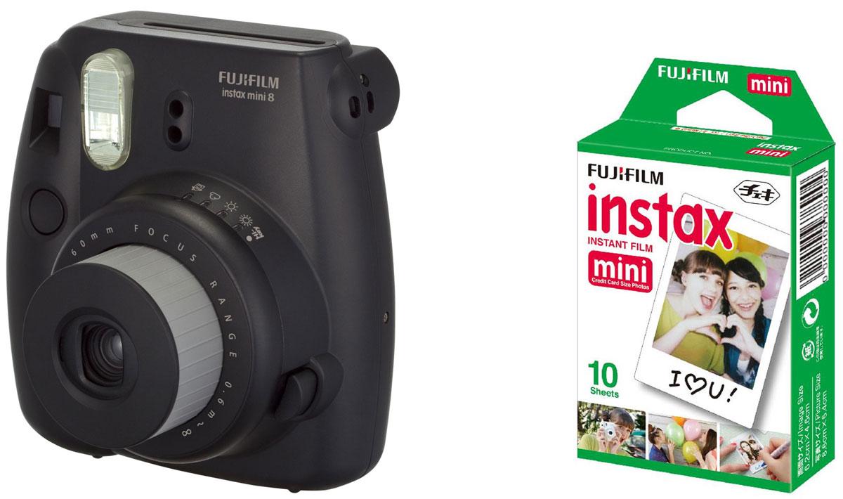 Fujifilm Instax Mini 8, Black фотокамера мгновенной печати +ColorfilmInstaxMiniGlossy (10/PK) картридж16443864Камера с технологией моментальной печати Fujifilm INSTAX Mini 8 позволяет печатать фотографии размера визитной карточки сразу после съемки.Обладая теми же конструктивными и эксплуатационными характеристиками, что и INSTAX mini 7S, INSTAX mini 8 примерно на 10% меньше mini 7S по объему корпуса. Процесс кадрирования стал проще благодаря видоискателю, который передает четкую картинку в реальном времени (даже при съемке под углом) и отличается более наглядной центральной меткой. К функциям съемки добавлен режим High-key - повышение диафрагмы на 2/3 ступени. Чтобы сделать фотографию с яркими и мягкими цветами, которые так полюбились девушкам, достаточно прокрутить диск в режим High-key.С момента своего выхода в свет в 1998 году камера INSTAX mini стала очень популярной благодаря простому управлению, остроумному дизайну и удивительному качеству снимков. Судя по тому, насколько распространен в наше время обмен цифровыми фотографиями, способов делиться любимыми снимками со временем определенно будет становиться больше. На волне этого тренда люди вновь оценили всю прелесть фотоаппаратов с технологией моментальной печати, ведь они позволяют тут же отдать готовую фотографию, например, другу. Камеры Instax можно использовать в самых различных ситуациях: на свадьбах и на вечеринках, для обычной съемки и для автопортретов. Причина популярности INSTAX среди девочек-подростков и женщин до 20 лет, для которых пленочные фотографии уже в диковинку, - это яркие и мягкие цвета полученных снимков.Камеры INSTAX mini 8 представлены в пяти цветовых вариантах - самое большое количество цветов в серии INSTAX. Покупатели могут выбрать не только стандартный белый или черный цвет, но и популярные среди женщин пастельные тона розового, голубого и желтого цвета.Используемая фотопленка: Fujifilm Instax MiniРазмер фотопленки: 86 мм х 54 ммРазмер снимка: 62 мм х 46 ммДиапазон фокусировки: от 