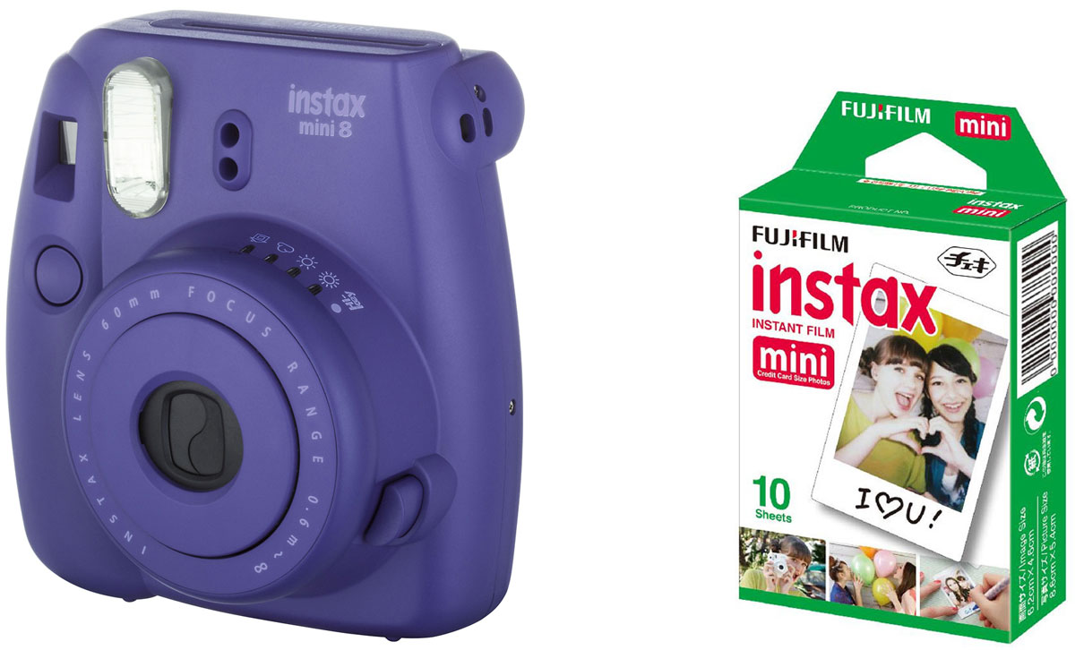 Fujifilm Instax Mini 8, Grape фотокамера мгновенной печати +ColorfilmInstaxMiniGlossy (10/PK) картридж fujifilm instax mini 8 grape