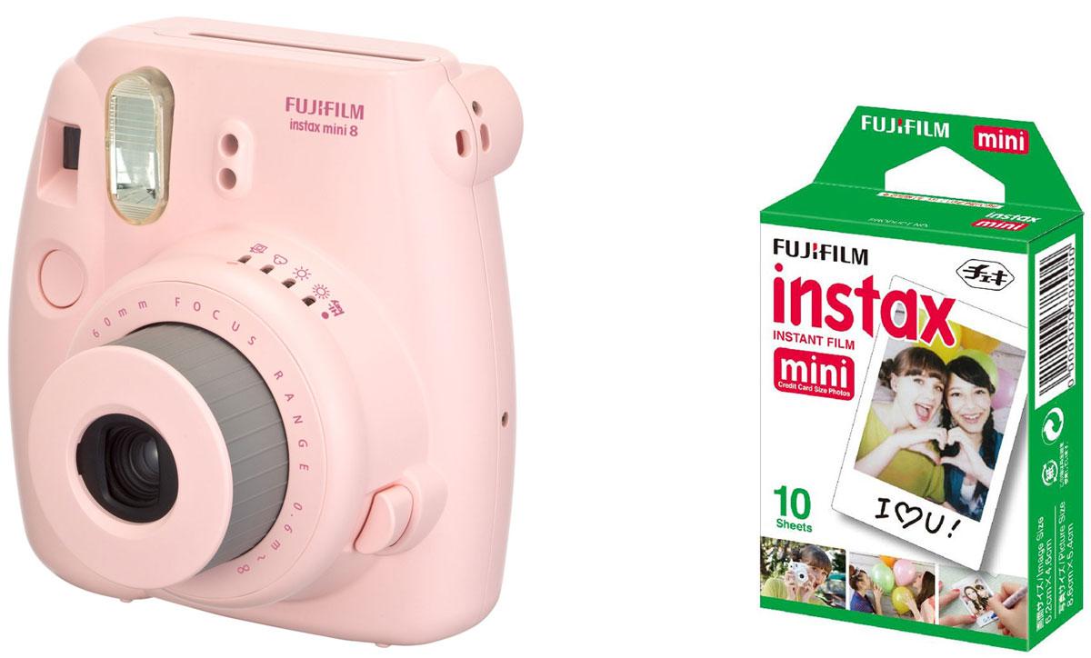 Fujifilm Instax Mini 8, Pink фотокамера мгновенной печати +ColorfilmInstaxMiniGlossy (10/PK) картридж16443876Камера с технологией моментальной печати Fujifilm INSTAX Mini 8 позволяет печатать фотографии размера визитной карточки сразу после съемки.Обладая теми же конструктивными и эксплуатационными характеристиками, что и INSTAX mini 7S, INSTAX mini 8 примерно на 10% меньше mini 7S по объему корпуса. Процесс кадрирования стал проще благодаря видоискателю, который передает четкую картинку в реальном времени (даже при съемке под углом) и отличается более наглядной центральной меткой. К функциям съемки добавлен режим High-key - повышение диафрагмы на 2/3 ступени. Чтобы сделать фотографию с яркими и мягкими цветами, которые так полюбились девушкам, достаточно прокрутить диск в режим High-key.С момента своего выхода в свет в 1998 году камера INSTAX mini стала очень популярной благодаря простому управлению, остроумному дизайну и удивительному качеству снимков. Судя по тому, насколько распространен в наше время обмен цифровыми фотографиями, способов делиться любимыми снимками со временем определенно будет становиться больше. На волне этого тренда люди вновь оценили всю прелесть фотоаппаратов с технологией моментальной печати, ведь они позволяют тут же отдать готовую фотографию, например, другу. Камеры Instax можно использовать в самых различных ситуациях: на свадьбах и на вечеринках, для обычной съемки и для автопортретов. Причина популярности INSTAX среди девочек-подростков и женщин до 20 лет, для которых пленочные фотографии уже в диковинку, - это яркие и мягкие цвета полученных снимков.Камеры INSTAX mini 8 представлены в пяти цветовых вариантах - самое большое количество цветов в серии INSTAX. Покупатели могут выбрать не только стандартный белый или черный цвет, но и популярные среди женщин пастельные тона розового, голубого и желтого цвета.Используемая фотопленка: Fujifilm Instax MiniРазмер фотопленки: 86 мм х 54 ммРазмер снимка: 62 мм х 46 ммДиапазон фокусировки: от 0