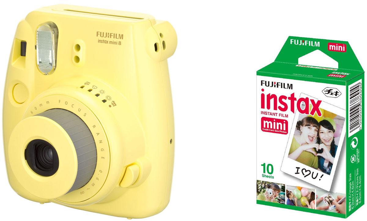 Fujifilm Instax Mini 8, Yellow фотокамера мгновенной печати +ColorfilmInstaxMiniGlossy (10/PK) картридж16427743Камера с технологией моментальной печати Fujifilm INSTAX Mini 8 позволяет печатать фотографии размера визитной карточки сразу после съемки.Обладая теми же конструктивными и эксплуатационными характеристиками, что и INSTAX mini 7S, INSTAX mini 8 примерно на 10% меньше mini 7S по объему корпуса. Процесс кадрирования стал проще благодаря видоискателю, который передает четкую картинку в реальном времени (даже при съемке под углом) и отличается более наглядной центральной меткой. К функциям съемки добавлен режим High-key - повышение диафрагмы на 2/3 ступени. Чтобы сделать фотографию с яркими и мягкими цветами, которые так полюбились девушкам, достаточно прокрутить диск в режим High-key.С момента своего выхода в свет в 1998 году камера INSTAX mini стала очень популярной благодаря простому управлению, остроумному дизайну и удивительному качеству снимков. Судя по тому, насколько распространен в наше время обмен цифровыми фотографиями, способов делиться любимыми снимками со временем определенно будет становиться больше. На волне этого тренда люди вновь оценили всю прелесть фотоаппаратов с технологией моментальной печати, ведь они позволяют тут же отдать готовую фотографию, например, другу. Камеры Instax можно использовать в самых различных ситуациях: на свадьбах и на вечеринках, для обычной съемки и для автопортретов. Причина популярности INSTAX среди девочек-подростков и женщин до 20 лет, для которых пленочные фотографии уже в диковинку, - это яркие и мягкие цвета полученных снимков.Камеры INSTAX mini 8 представлены в пяти цветовых вариантах - самое большое количество цветов в серии INSTAX. Покупатели могут выбрать не только стандартный белый или черный цвет, но и популярные среди женщин пастельные тона розового, голубого и желтого цвета.Используемая фотопленка: Fujifilm Instax MiniРазмер фотопленки: 86 мм х 54 ммРазмер снимка: 62 мм х 46 ммДиапазон фокусировки: от
