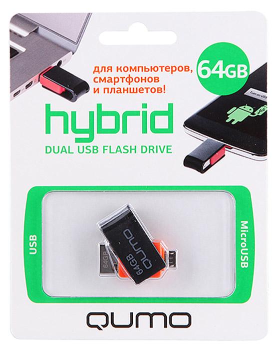 QUMO Hybrid 64GB USB-накопитель6909723207571QUMO Hybrid - ультра-современный флеш-накопитель с двумя коннекторами: для подключения к компьютеру и ноутбуку используется интерфейс USB 2.0; для подключения к планшетам и смартфонам, поддерживающим функцию «On-the-Go» (USB OTG), используется разъём microUSB. Благодаря поворотно-выдвижному механизму QUMO Hybrid компактен и невероятно удобен в использовании.QUMO Hybrid сделает Вашу жизнь более динамичной и современной: моментальный доступ к фильмам, фото или музыке без записи на память телефона\планшета; возможность оперативно просмотреть или показать рабочие презентации и документы, записанные на накопителе в любом месте, в любое время; простота переноса фотографий\видео с телефона на компьютер без проводов и подключения к сети.