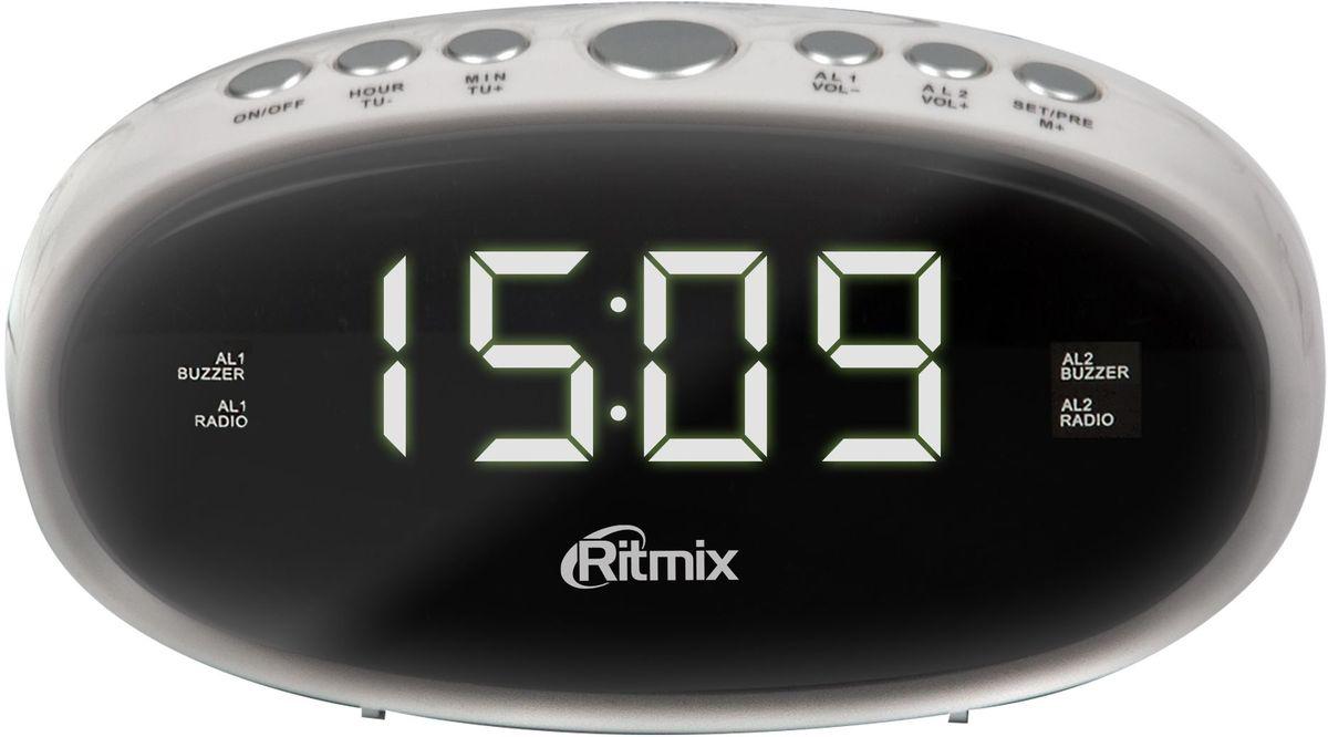 Ritmix RRC-616, White радио-будильникRRC-616 WHITERitmix RRC-616 - это компактные FM-радиочасы с функцией будильника. Модель оснащена дисплеем с легкой и понятной индикацией, высота цифр - 1,5 см. Радиочасы имеют множество полезных функций: цифровую настройку на 10 станций, таймер выключения, регулировку настройки яркости.Компактный размер2 будильникаПовтор сигнала будильникаТаймер выключенияВнешняя антенна для уверенного приемаКнопочное управлениеПитание от сети (батарейки служат только для сохранения настроек времени и будильника)Регулировка настройки яркости