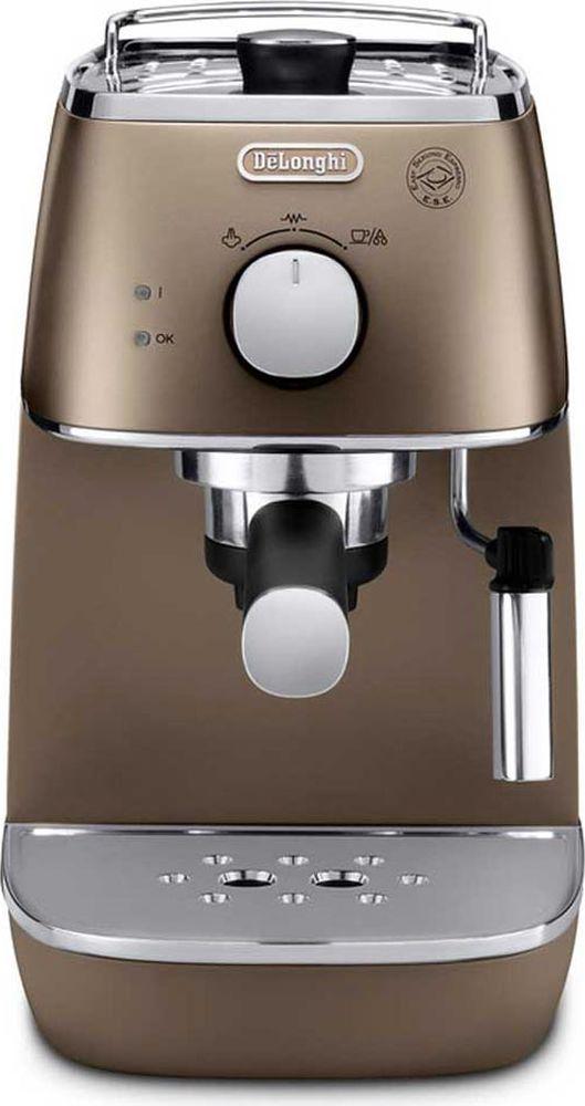 DeLonghi Distinta ECI341, Bronze рожковая кофеварка0132104145Стильная рожковая кофеварка DeLonghi ECI 341 из коллекции Distinta выполнена в бронзовом цвете. Два раздельных термостата отображают температуру воды и пара. Поддержка давления и температуры экономит время - кофеварка готова к работе в любое время. Контейнер для воды легко снимается для наполнения. Подставка для чашек с подогревом повышает комфорт эксплуатации.Регулируемая подача параФункция подачи горячей водыСистема поддержания давления и температурыСъемный поддон для капельФильтр для кофе 2 в 1 (молотый и чалды) с устройством CremaФильтр с системой двойного дна (DF)Материал бойлера: нержавеющая сталь