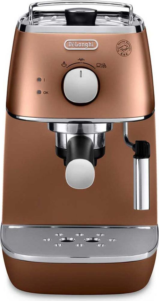 DeLonghi Distinta ECI341, Copper рожковая кофеварка0132104146Стильная рожковая кофеварка DeLonghi ECI 341 из коллекции Distinta выполнена в медном цвете. Два раздельных термостата отображают температуру воды и пара. Поддержка давления и температуры экономит время — кофеварка готова к работе в любое время. Контейнер для воды легко снимается для наполнения. Подставка для чашек с подогревом повышает комфорт эксплуатации.Регулируемая подача параФункция подачи горячей водыСистема поддержания давления и температурыСъемный поддон для капельФильтр для кофе 2 в 1 (молотый и чалды) с устройством CremaФильтр с системой двойного дна (DF)Материал бойлера: нержавеющая сталь