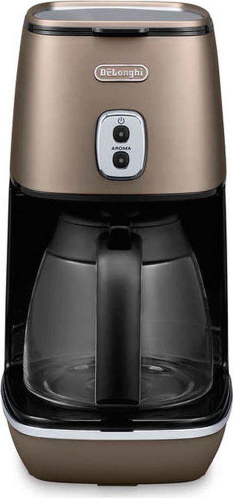 DeLonghi Distinta ICMI211, Bronze кофеварка0132301103Лаконичная бронзовая кофеварка DeLonghi ICMI211 органично сочетается с другими приборами Delonghi серии Distinta. Кнопка Арома позволяет настроить крепость напитка. Колба из высококачественного стекла подогревается, сохраняя кофе горячим в течение 40 минут. Индикатор уровня воды сообщает о готовности кофеварки к работе.Подогрев колбыФункция подачи горячей воды