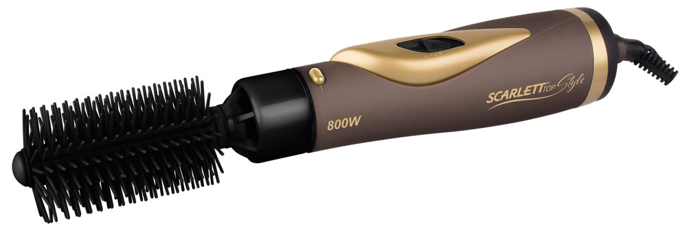 Scarlett SC-HAS73I07, Mocha Gold фен-расческаSC-HAS73I07Фен-расческа Scarlett SC-HAS73I07 поможет быстро высушить и красиво уложить волосы любой длины. Прибор практичен и удобен в использовании, снабжен функцией ионизации, защитой шнура от перекручивания и режимом подачи холодного воздуха для закрепления укладки. В случае перегрева, фен автоматически отключается.В комплекте к прибору идут четыре насадки:Круглая — используется для создания прикорневого объема;Полукруглая — используется для одновременной сушки и расчесывания волос;Насадка-концентратор — позволяет сужать и направлять поток воздуха для сушки отдельных участков, фиксирует укладку и не дает волосам разлетаться;Насадка-трансформер — используется для завивки мягких локонов.