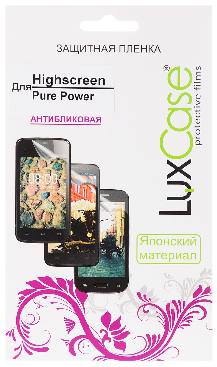 LuxCase защитная пленка для Highscreen Pure Power, антибликовая51564Защитная пленка LuxCase для Highscreen Pure Power сохраняет экран смартфона гладким и предотвращает появление на нем царапин и потертостей. Структура пленки позволяет ей плотно удерживаться без помощи клеевых составов и выравнивать поверхность при небольших механических воздействиях. Пленка практически незаметна на экране смартфона и сохраняет все характеристики цветопередачи и чувствительности сенсора.
