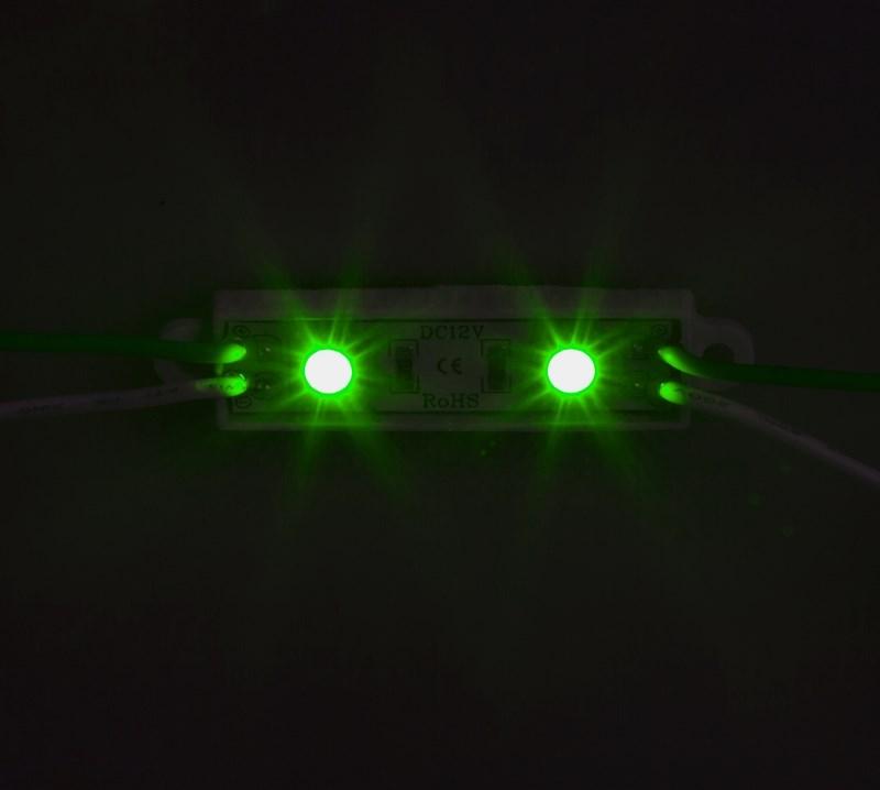 Модуль светодиодный, IP67 влагозащищенный, 2 SMD 5050 LED, ЗЕЛЕНЫЙ