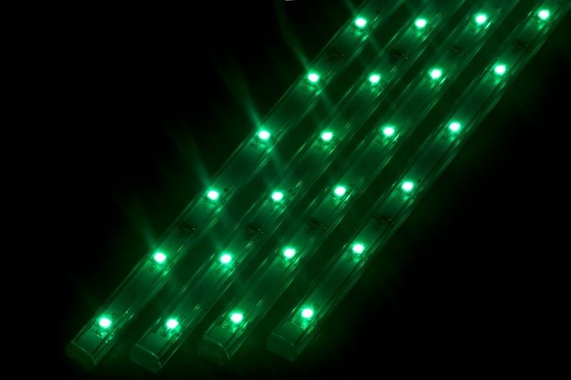 Светодиодный светильник Neon-Night, линейный, 4 шт х 25 см, цвет: зеленый145-104Линейный светодиодный светильник Neon-Night - это светодиодная линейка длиной 25 см, заключенная в корпус из прозрачного пластика. Онимогут использоваться в подсветке витрин, мебели, а так же в интерьерной подсветке. Простота монтажа поможет без проблем справиться свопросом освещения необходимых зон. Блок питания, понижающий напряжение до 12 В, делает устройство безопасным в использовании.Использование светодиодных светильников является выгодным решением, так как они обладают высокой яркостью свечения, большим срокомслужбы и вместе с этим низким энергопотреблением. Поставляется по 4 штуки в комплекте с блокомпитания.