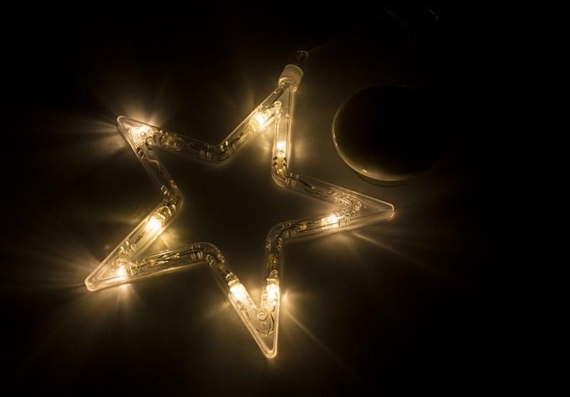 Фигура светодиодная Звездочка на присоске с подвесом, ТЕПЛЫЙ БЕЛЫЙ501-011Фигура светодиодная выполнена из пластикового короба в форме Звездочки внутри которого равномерно расположены 8 светодиодов теплого белого цвета свечения. Фигура крепится на ровную гладкую поверхность на присоску, которая расположена на батарейном блоке на расстоянии 20 см от фигуры на подвесе. Питание осуществляется при помощи 3 батареек типа AAA.