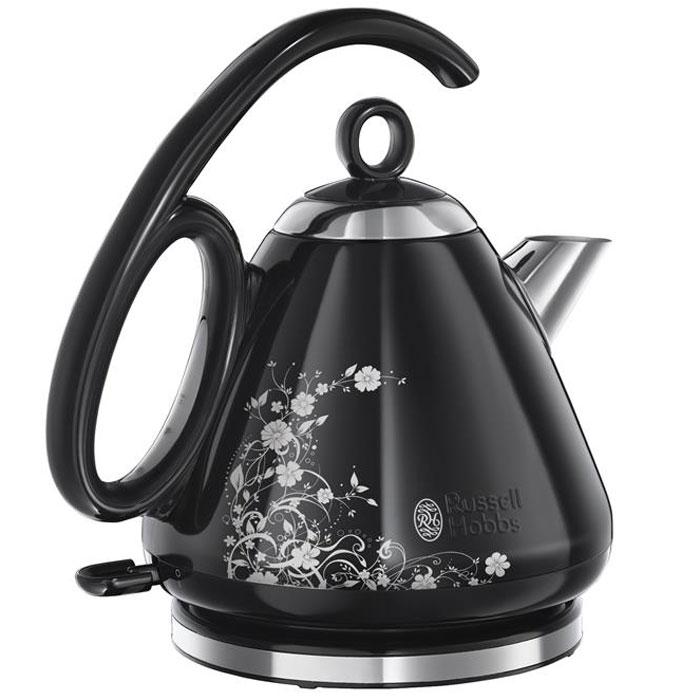 Russell Hobbs 21961-70 Legacy, Black Floral чайник21961-70Благодаря инновационным конструктивным особенностям и стильной черной полированной отделки из нержавеющей стали с изысканным цветочным орнаментом, чайник Russell Hobbs 21961-70 окажется в самом сердце вашей кухни.Модель имеет уникальную форму ручки, которая благодаря эргономичным качествам будет крайне удобной при наполнении водой, переносе или пользовании чайником. Эта уникальная ручка позволяет преодолеть маятниковый эффект, который существует у традиционных чайников.Кроме того, чайник обладает другими интересными особенностями. Он позволяет вскипятить воду на одну чашку всего лишь за 55 секунд, а специальная форма носика гарантирует отсутствие остаточных капель и пролив воды мимо чашки.Вы можете вскипятить воду на 1, 2 или 3 чашки в зависимости от вашей потребности. Это идеальный способ экономии электроэнергии и очень удобно. Специальные метки внутри чайника подскажут до какой отметки нужно долить воду.