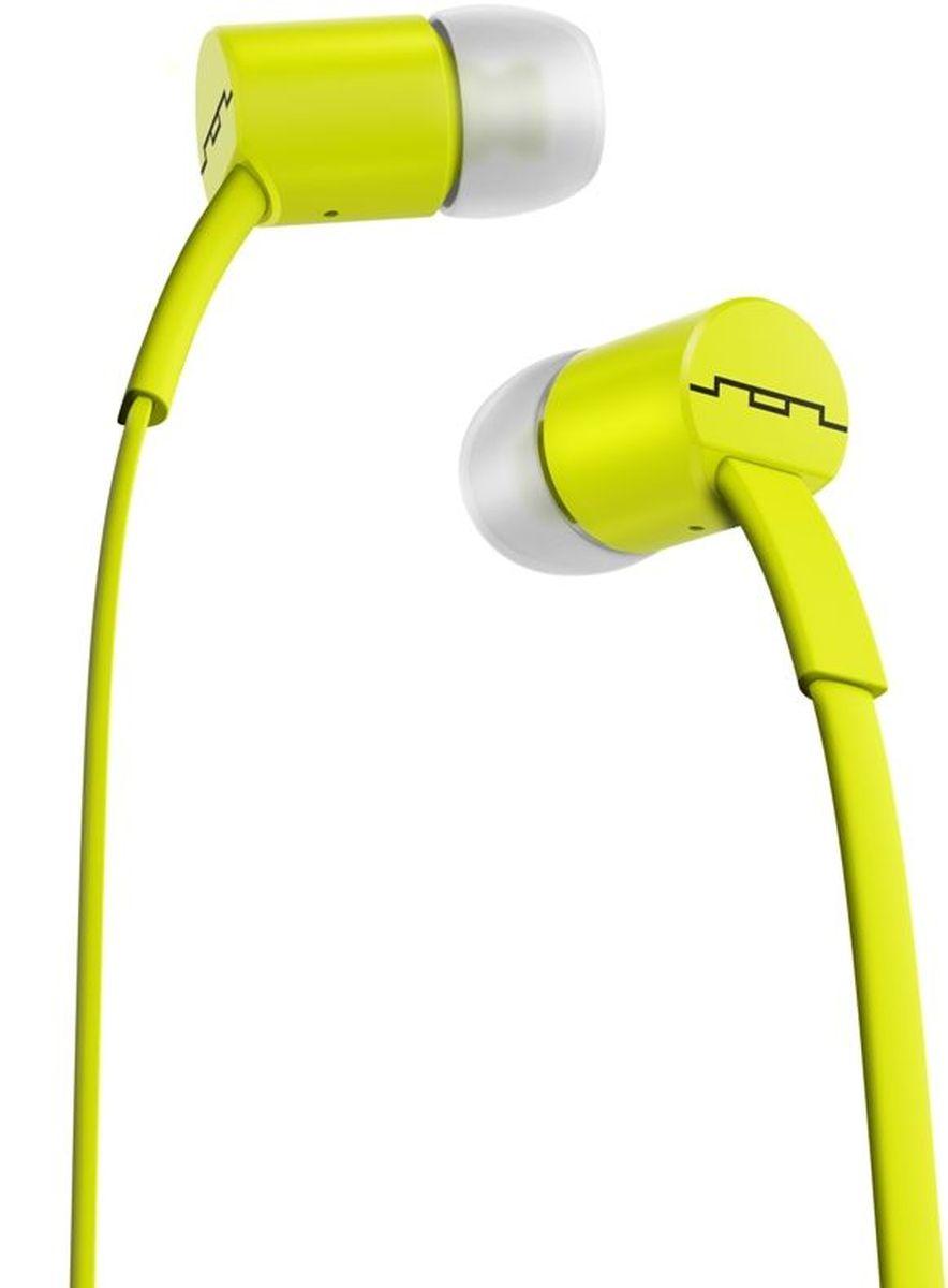 Sol Republic 1112-30 Jax Sb, Lemon Lime наушники1112-30Наушники Sol republic jax - это качественный звук, который всегда под рукой. Благодаря динамикам i2 sound engine наушники выдают мощное и насыщенное басами звучание, которое превзойдет ваши ожидания. Гарнитура снабжена плоским кабелем, а значит, вам не придется тратить время на распутывание проводов и вы сразу перейдете к прослушиванию любимой музыки. Интегрированный трехкнопочный пульт ДУ с микрофоном позволят Вам управлять воспроизведением, громкостью и отвечать на телефонные звонки. Комплект из сменных насадок четырех размеров обеспечит комфорт и прекрасную звукоизоляцию для использования наушников в транспорте или в другой шумной обстановке.