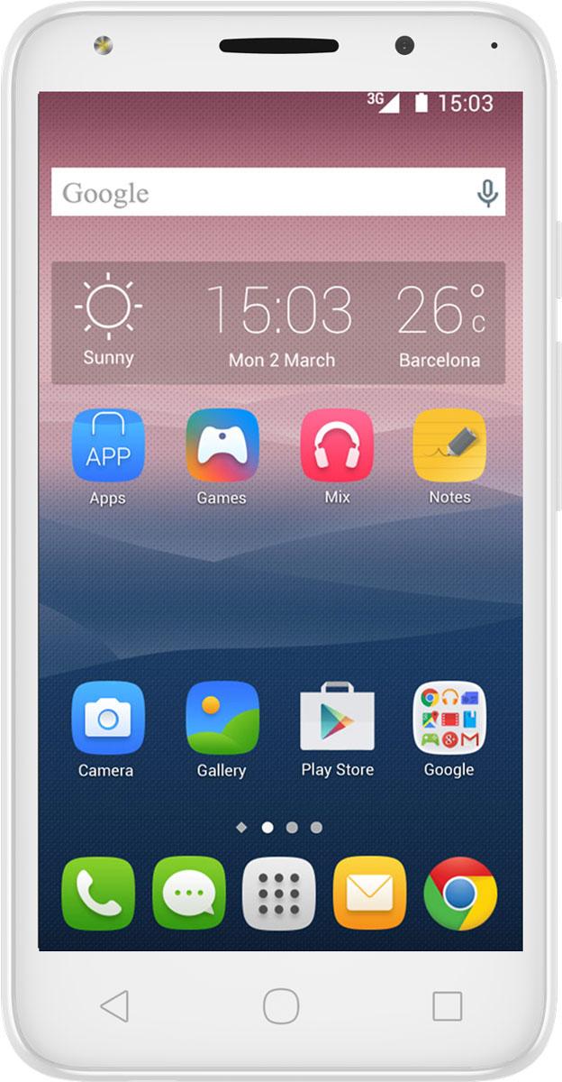 Alcatel OT-5045D Pixi 4 (5), White5045D-2DALRU1Смартфон Alcatel OT-5045D Pixi 4 имеет сенсорный TFT-экран с диагональю 5 дюймов, что обеспечивает комфорт при серфинге в интернете, просмотре видео и играх. Данная модель оснащена мощным 4-ядерным процессором и оперативной памятью 1 ГБ, что обеспечивает быстродействие устройства даже в режиме многозадачности. Alcatel OT-5045D Pixi 4 поддерживает 2 SIM-карты, поэтому смартфон можно использовать в качестве личного и рабочего одновременно.Тыловая камера 8 Мпикс со встроенной вспышкой позволяет делать качественные фото и снимать видео, а фронтальная камера 5 Мпикс обеспечивает видеосвязь и яркие селфи.Смартфон поддерживает карты памяти объемом до 32 ГБ, что позволяет хранить всю необходимую информацию, включая фото, видео и музыку. Поддержка интернета 4G позволяет оставаться на связи даже там, где нет Wi-Fi.Телефон сертифицирован EAC и имеет русифицированный интерфейс меню и Руководство пользователя.