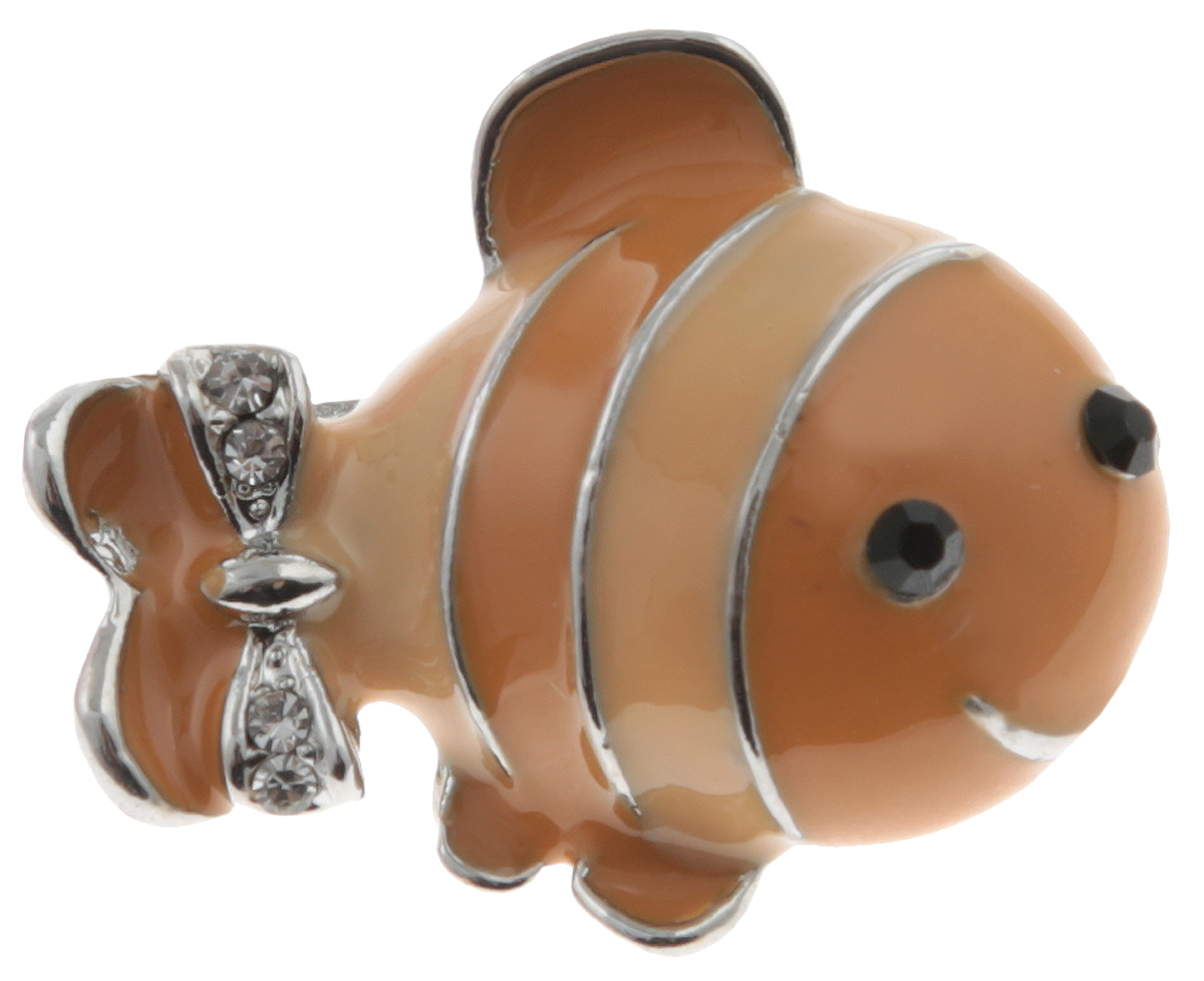 Брошь Рыбка от Arrina. Эмаль песочного цвета, прозрачные стразы, бижутерный сплав серебряного тона. ГонконгАжурная брошьБрошь Рыбка от Arrina. Эмаль песочного цвета, прозрачные стразы, бижутерный сплав серебряного тона.Гонконг.Размер: 2,5 х 1,5 см.Тип крепления - булавка с застежкой.