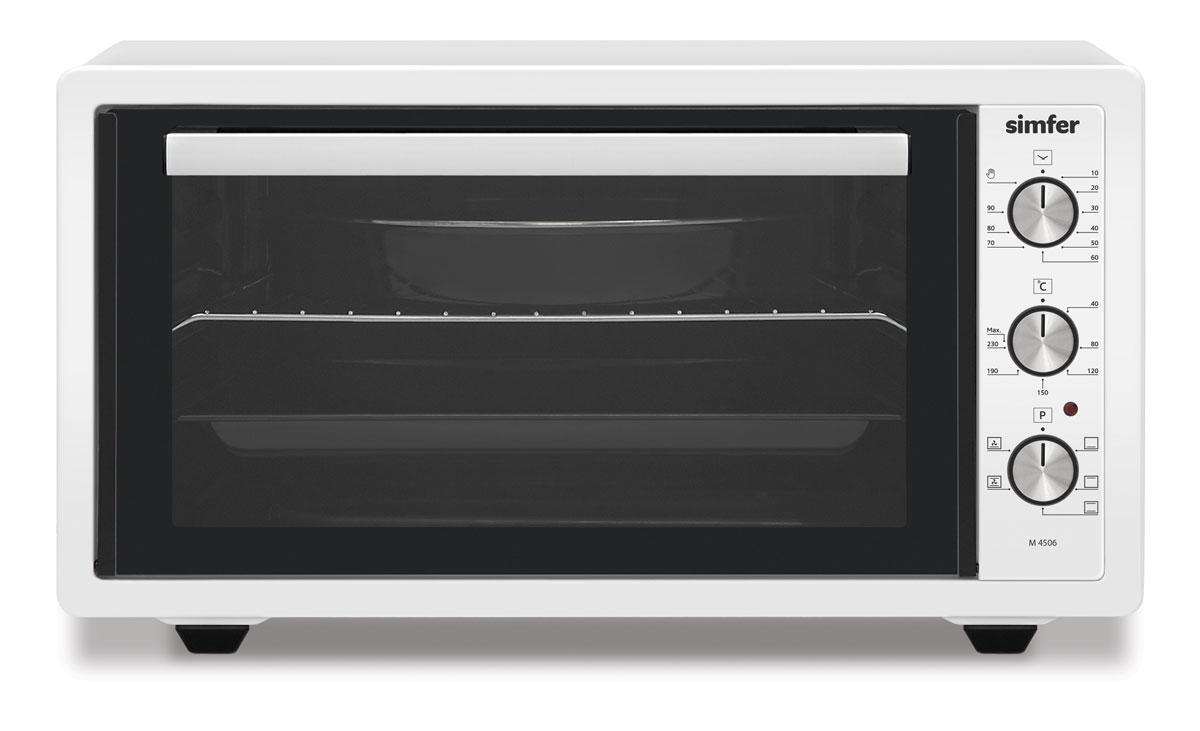 Simfer M4506 духовка электрическаяM4506Simfer M4506- компактная духовка с внутренним объемом 45 литров. Идеально подходит как для деликатного приготовления пищи, так и для приготовления блюд с хрустящей корочкой. Оснащена пятью режимами нагрева. Легко очищается, комплектуется решеткой для гриля и противнем для выпекания.