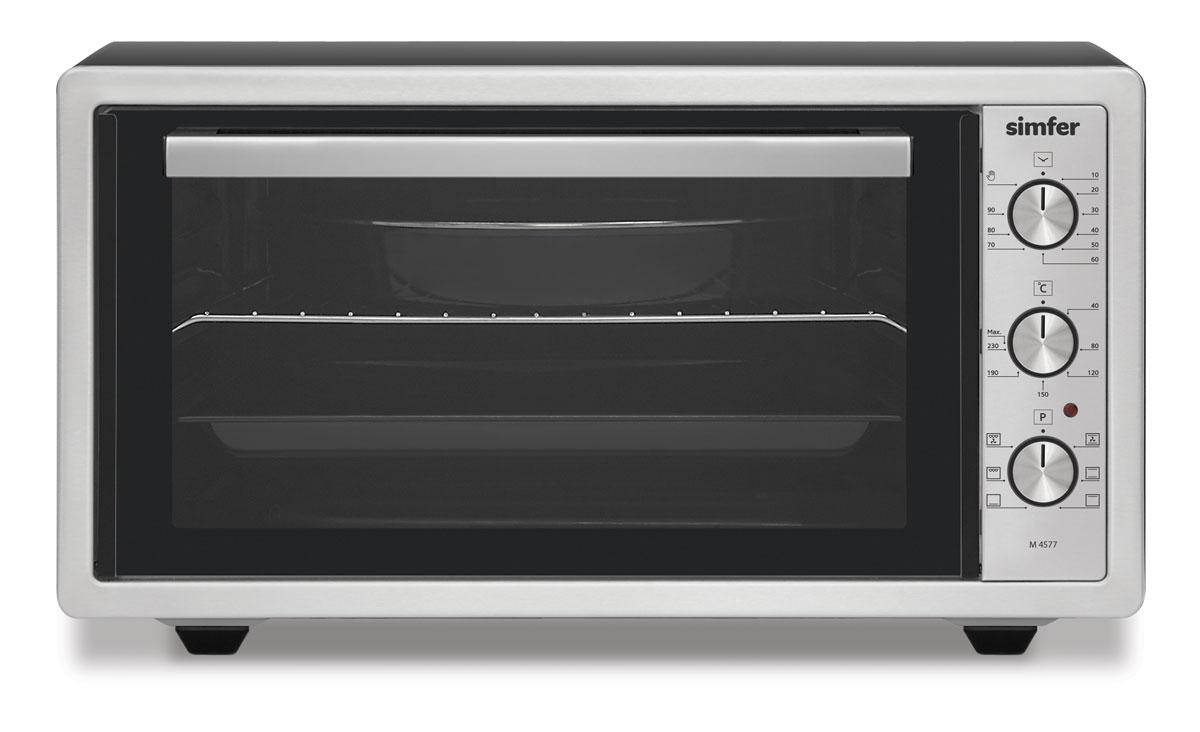 Simfer M4577 духовка электрическаяM4577Simfer M4577- компактная духовка с внутренним объемом 45 литров. Идеально подходит как для деликатного приготовления пищи, так и для приготовления блюд с хрустящей корочкой. Оснащена пятью режимами нагрева. Легко очищается, комплектуется решеткой для гриля и противнем для выпекания.