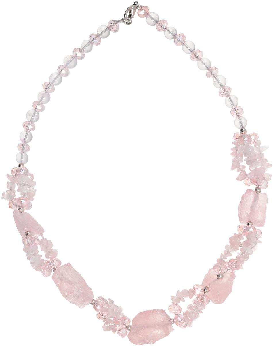 Колье Vittorio Richi, цвет: светло-розовый. 91522738vrКолье (короткие одноярусные бусы)Колье Vittorio Richi выполнено из натурального камня и стекла. Изделие выполнено в виде бус, оформленных элементами разного размера. Застегивается колье с помощью замка-карабина.